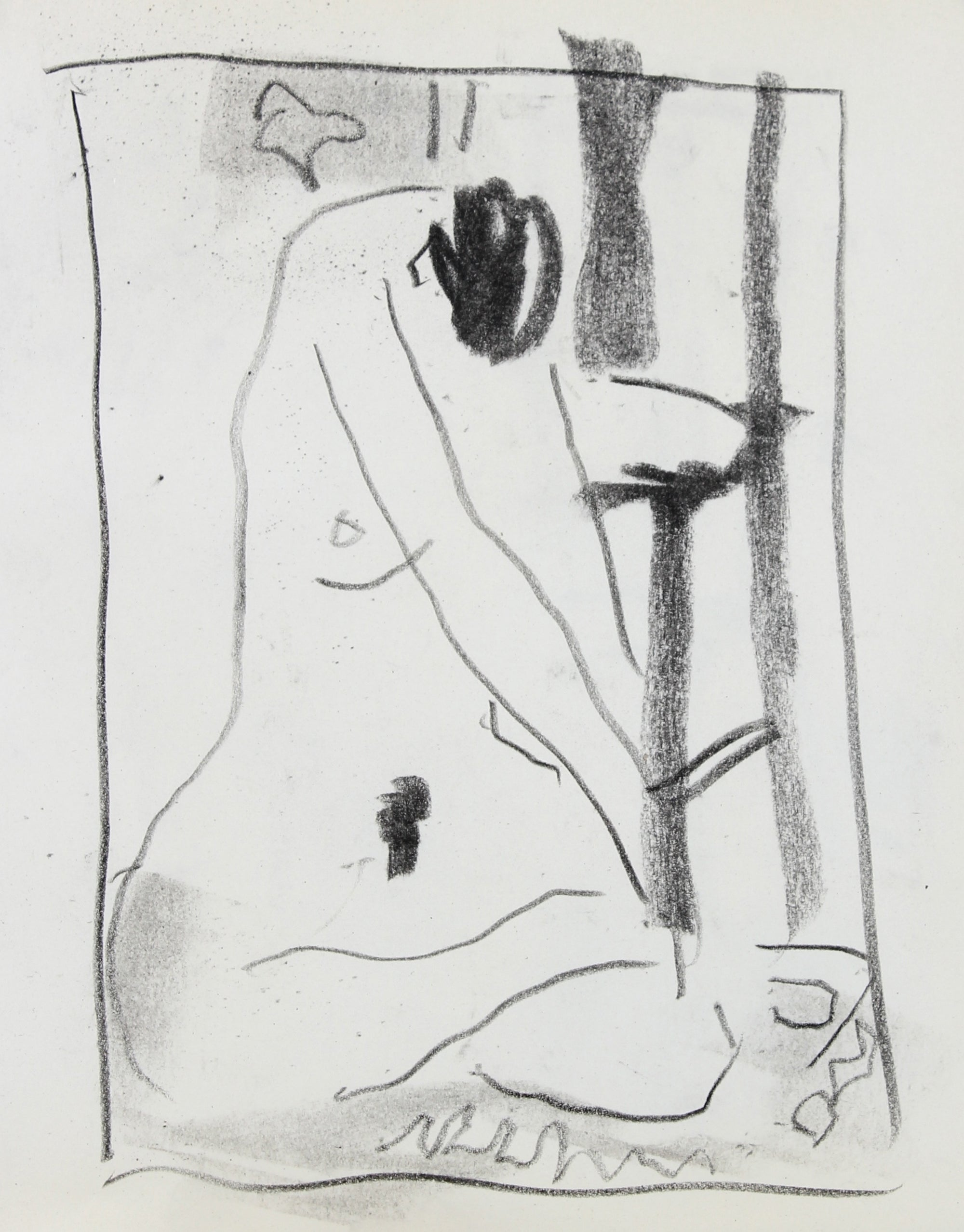 Abstracted Nude Figure Study <br>20th Century Charcoal <br><br>#99761