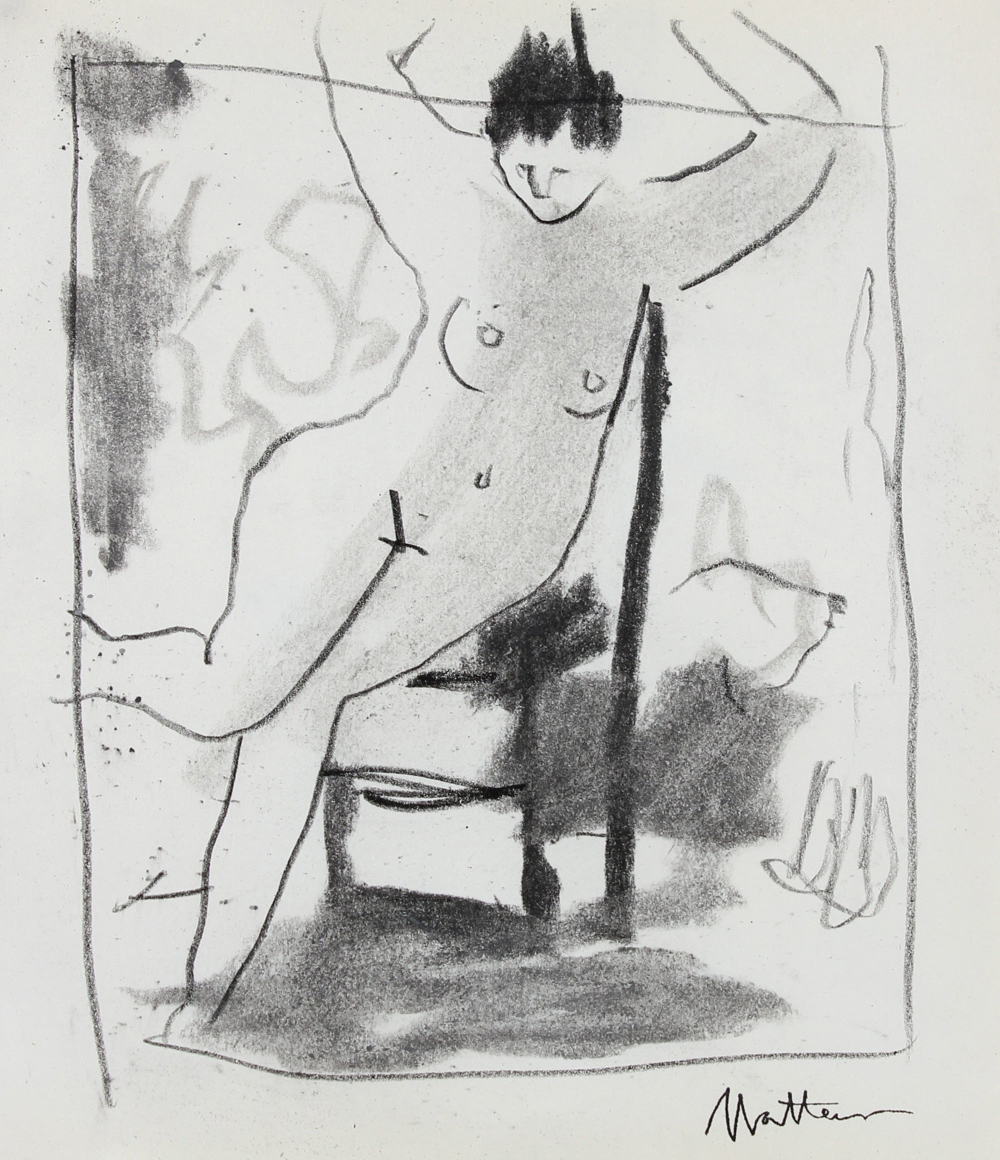 Woman with Chair Study <br>20th Century Charcoal <br><br>#99762