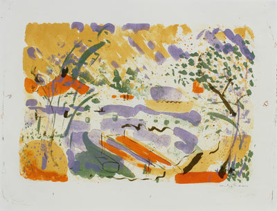 Bright Springtime Abstracted Landscape<br>1950-60s Lithograph<br><br>#99799