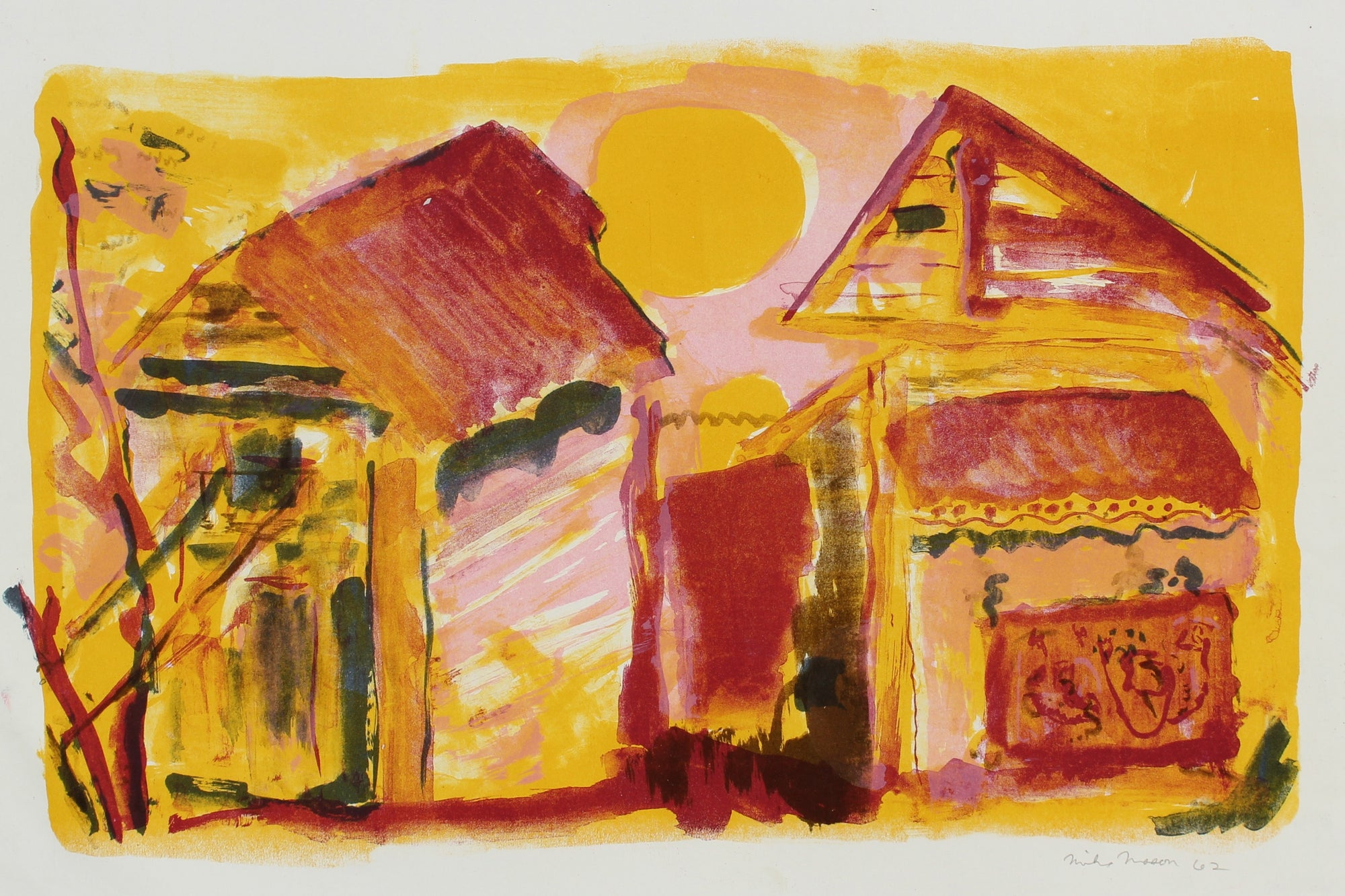 Sunset Abstracted Homes<br>1962 Lithograph<br><br>#99810