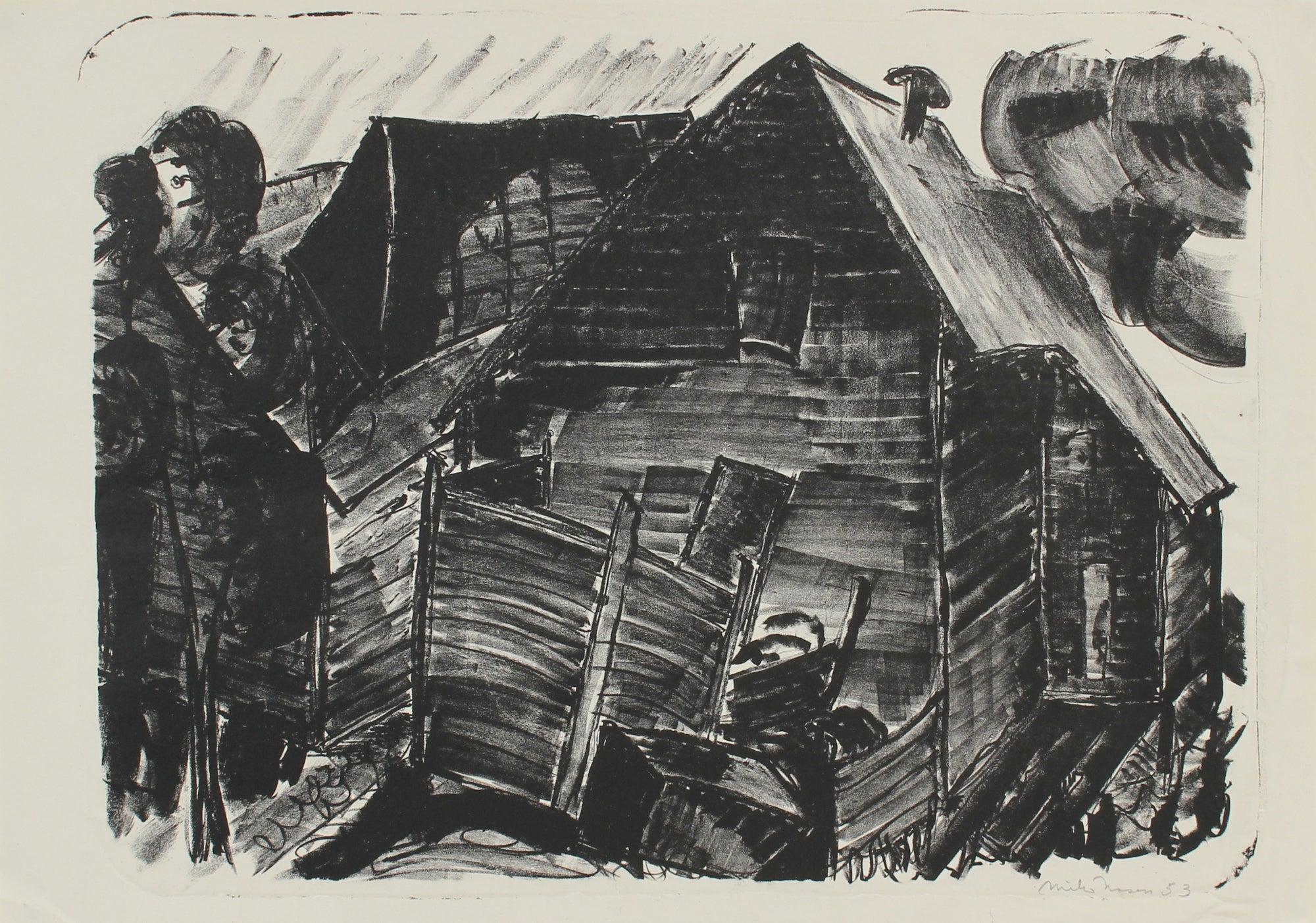 Monochrome Abstracted Barn<br>1953 Lithograph<br><br>#99811