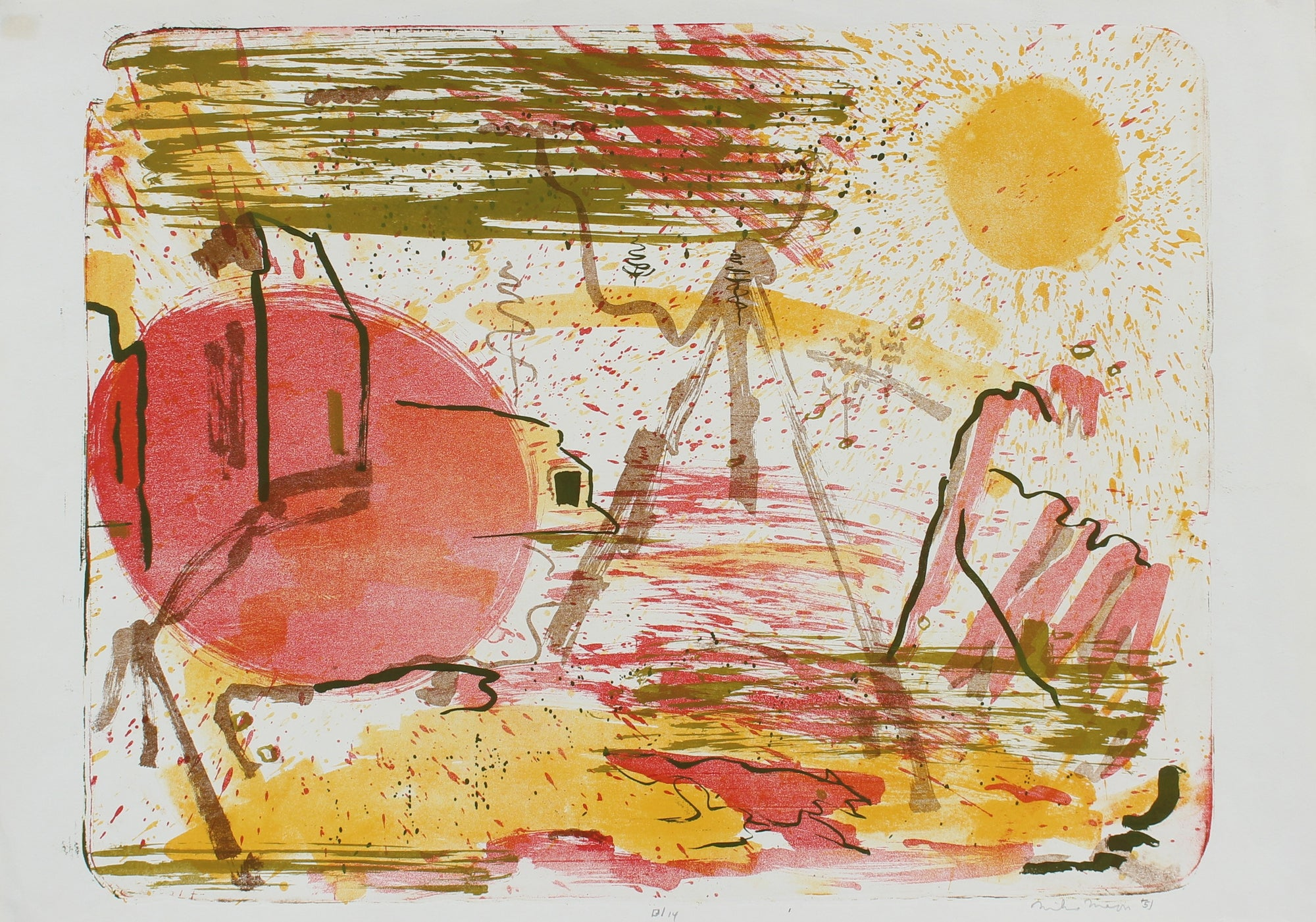 Abstracted Desert Sunrise <br>1951 Lithograph <br><br> #99819