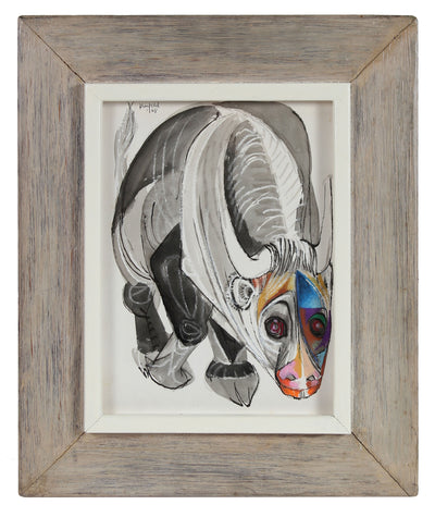 Modernist Bull Drawing<br>1968 Ink & Pastel<br><br>#A0182