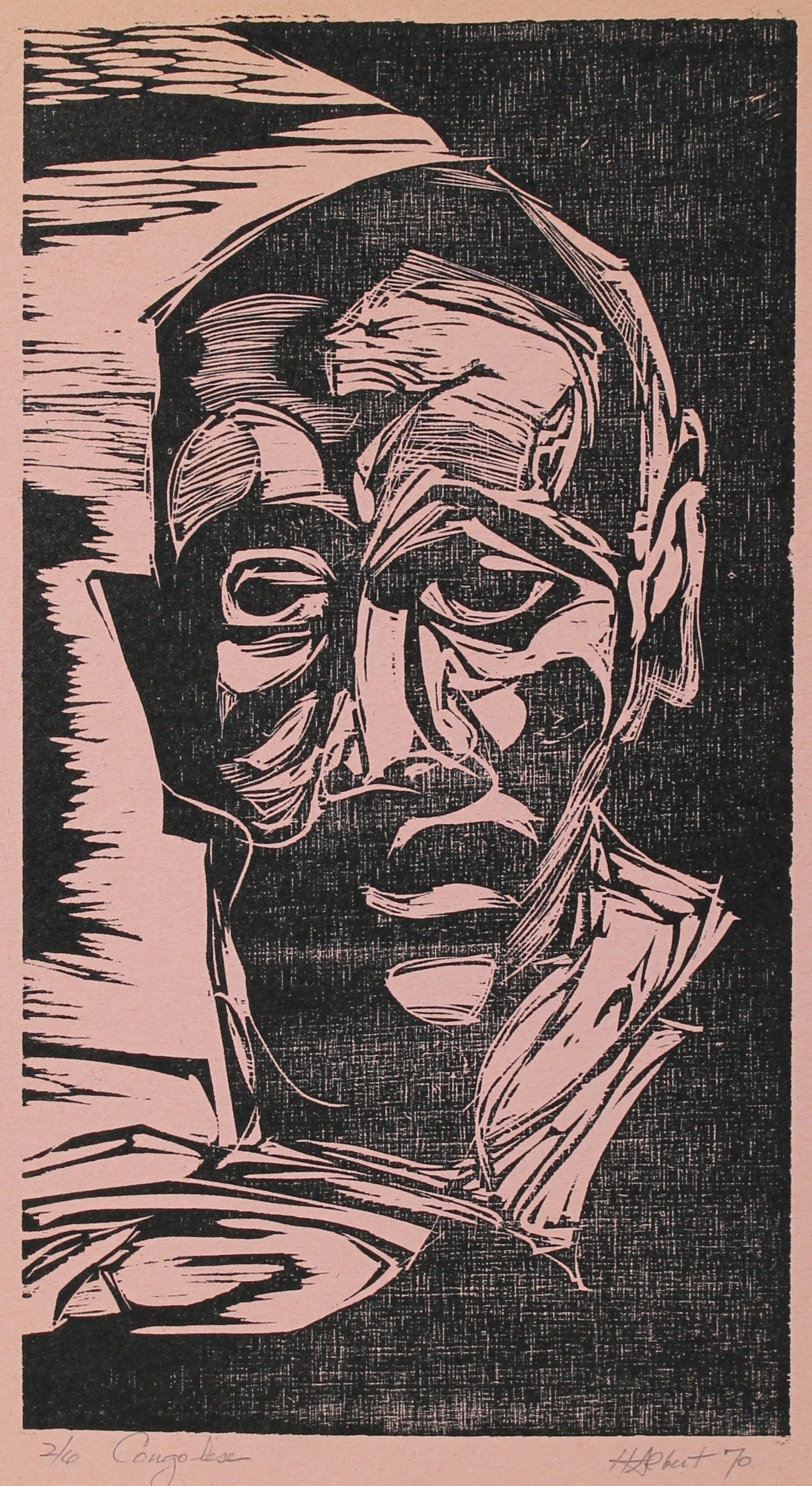 <i>Congolese</i><br>1970 Woodcut on Paper<br><br>#A0431