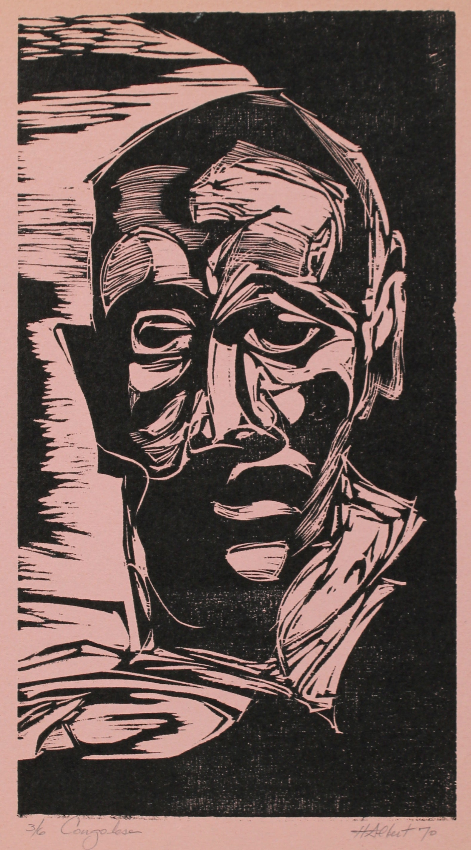 <i>Congolese</i><br>1970 Woodcut on Paper<br><br>#A0432