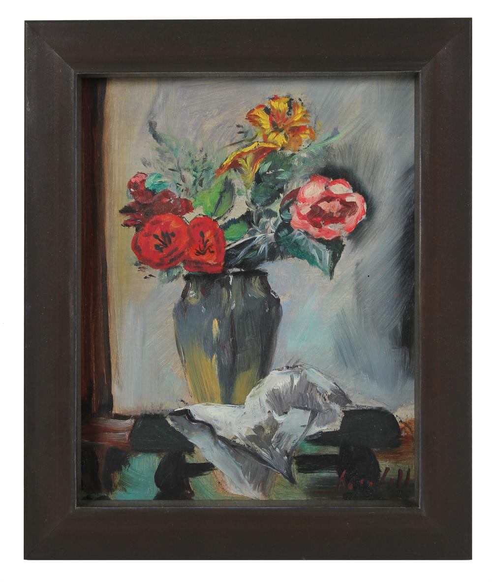 Abstracted Flowers in Vase<br>Mid Century Oil<br><br>#A0582