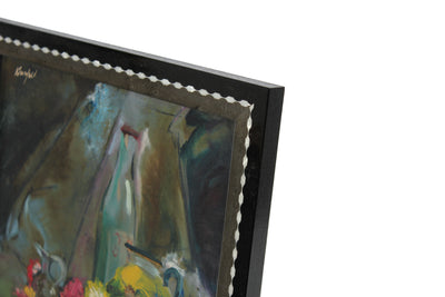 Abstracted Floral Still Life<br>Mid Century Oil<br><br>#A0585