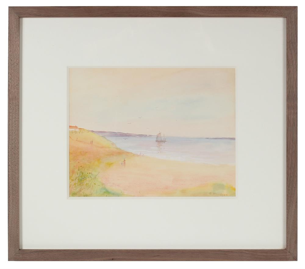 Dreamy Coastal Scene with Boat<br>1900-30s Watercolor<br><br>#A0690