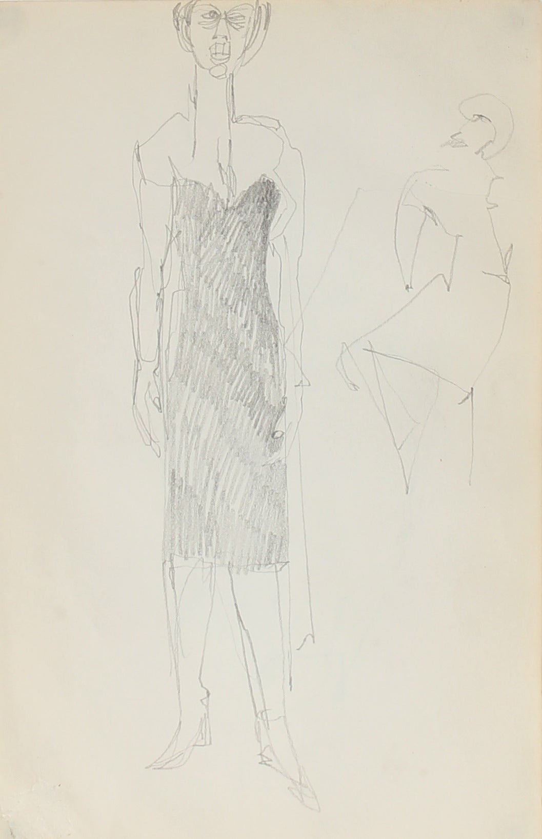 Woman in Black, New York<br><br>Graphite, 1950-60s<br><br>#0311