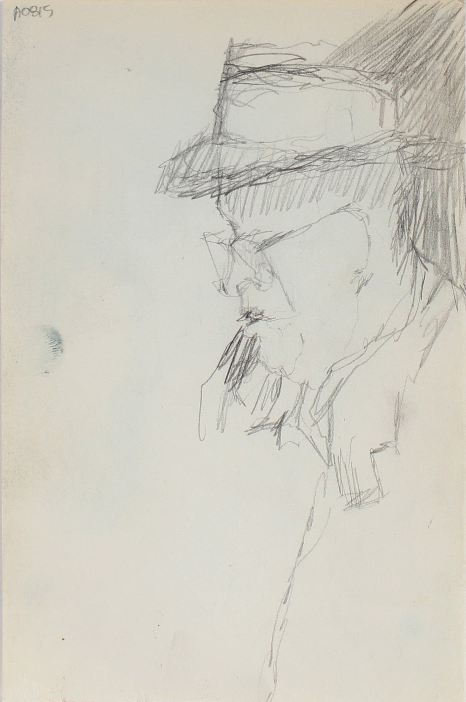 Modernist Study of a Man<br>Graphite, 1950-60s<br><br>#0325