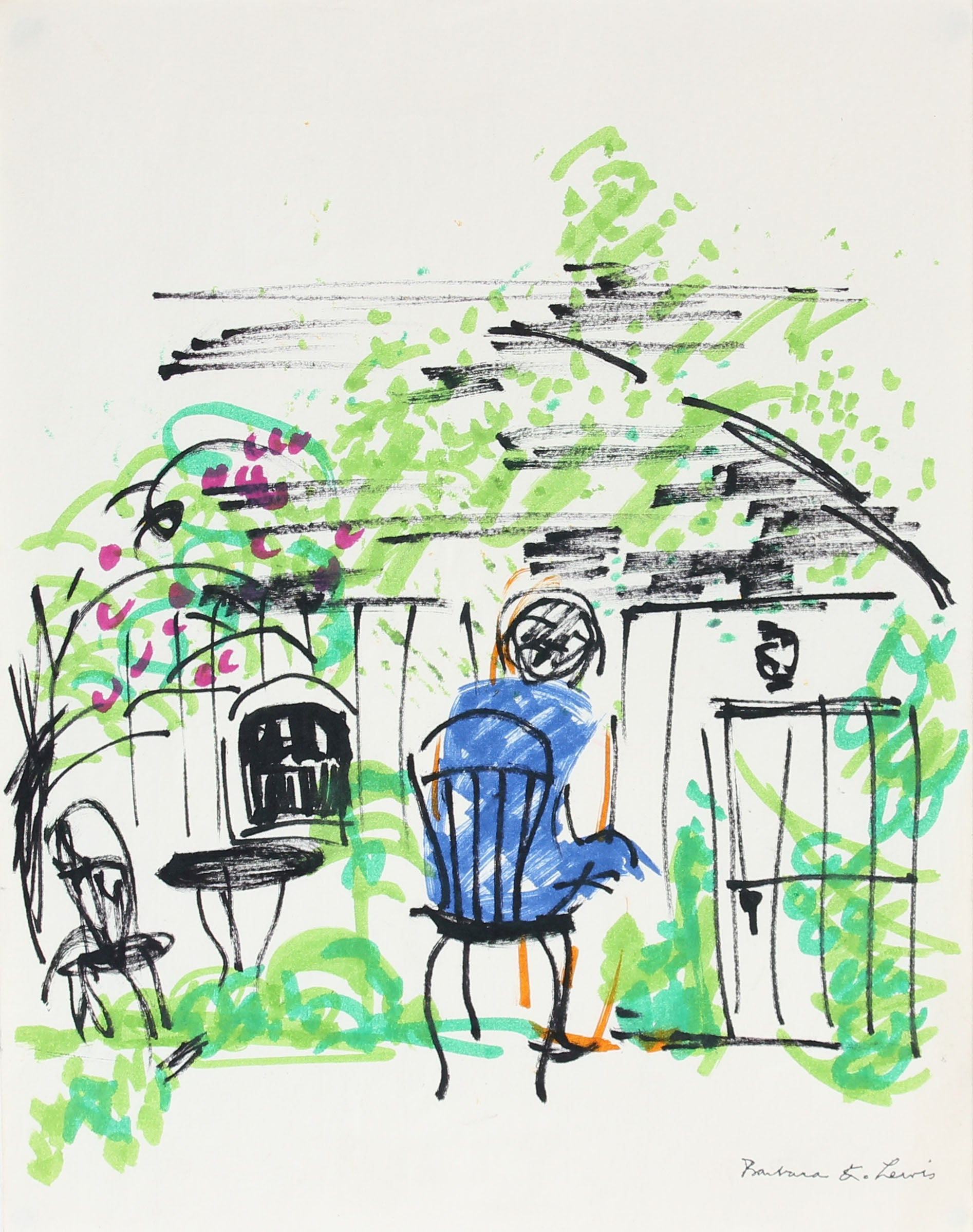 Abstracted Figure in the Garden <br>Mid Century Ink <br><br>#A0945