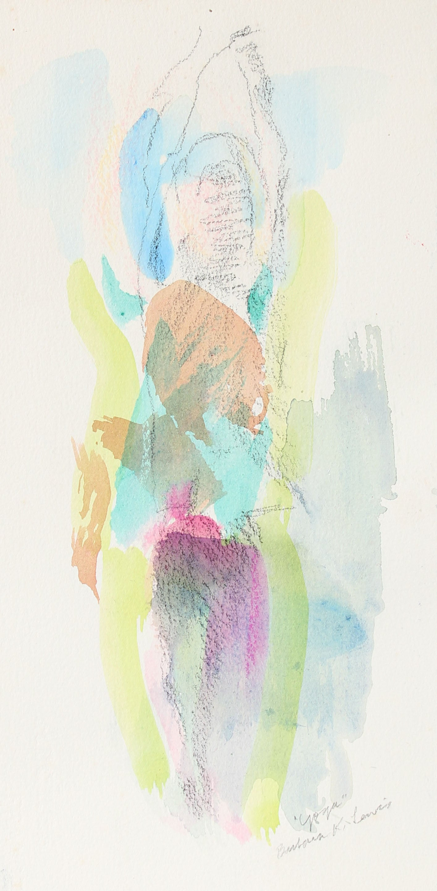 <i>Yoga </i> <br>20th Century Watercolor & Charcoal <br><br>#A0948