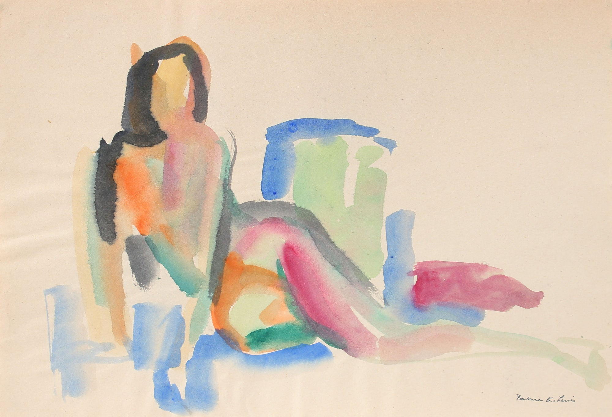 Vintage Reclining Brushstroke Figure <br>20th Century Watercolor <br><br>#A0958