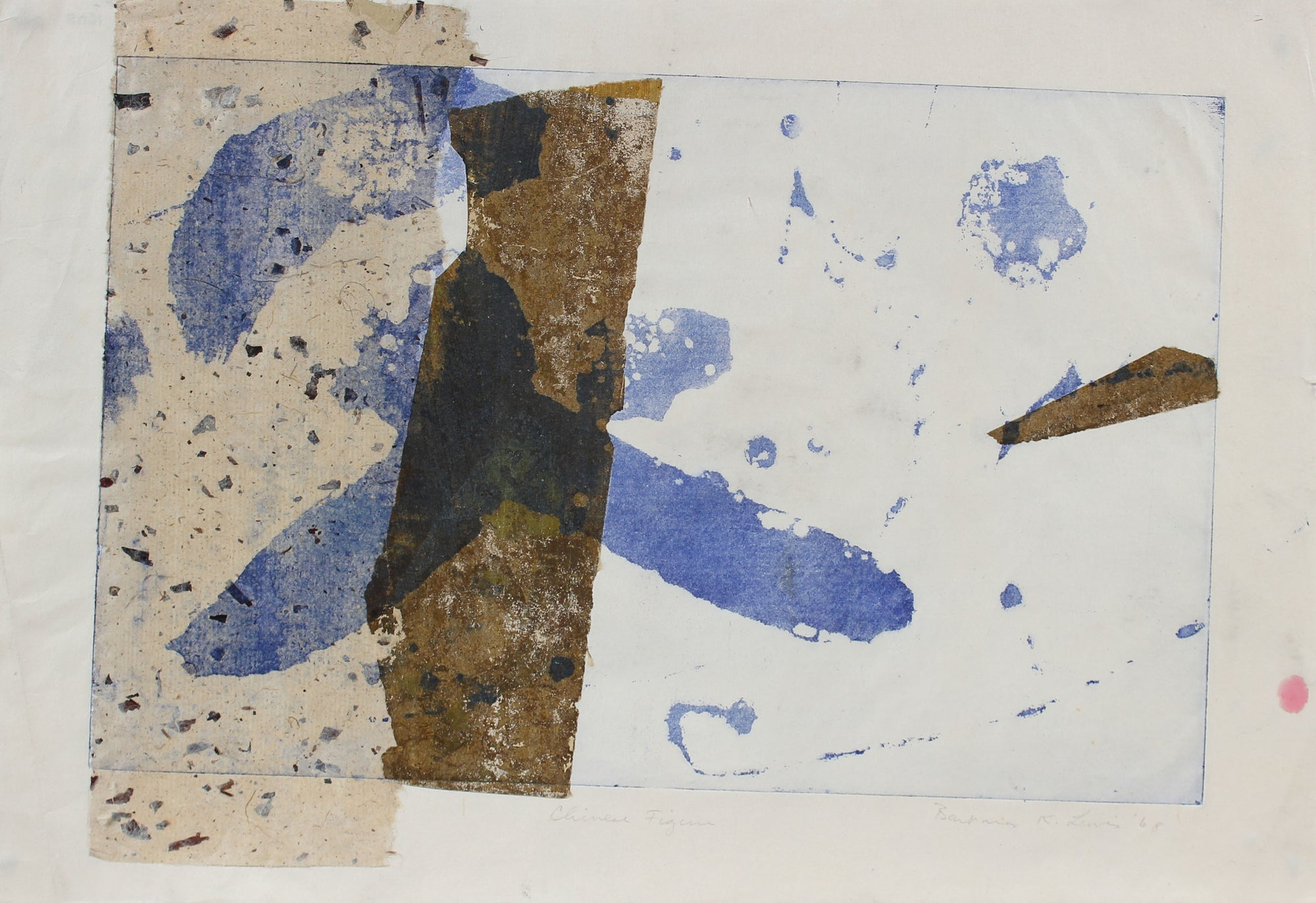 Blue & Brown Gestural Abstract <br>1968 Photo Etching & Collage <br><br>#A0960