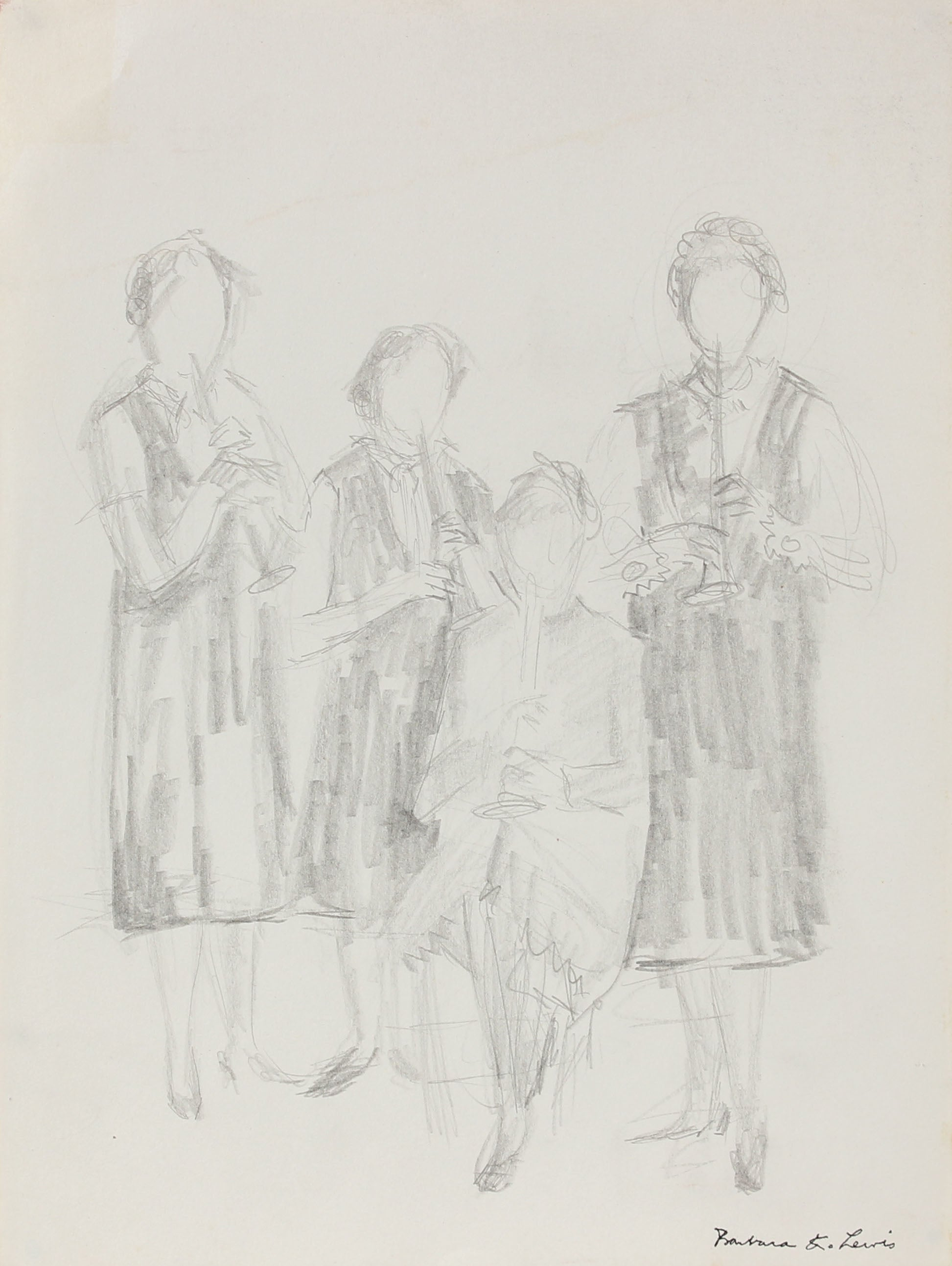 Four Clarinet Players Vintage Sketch <br>20th Century Graphite <br><br>#A0962