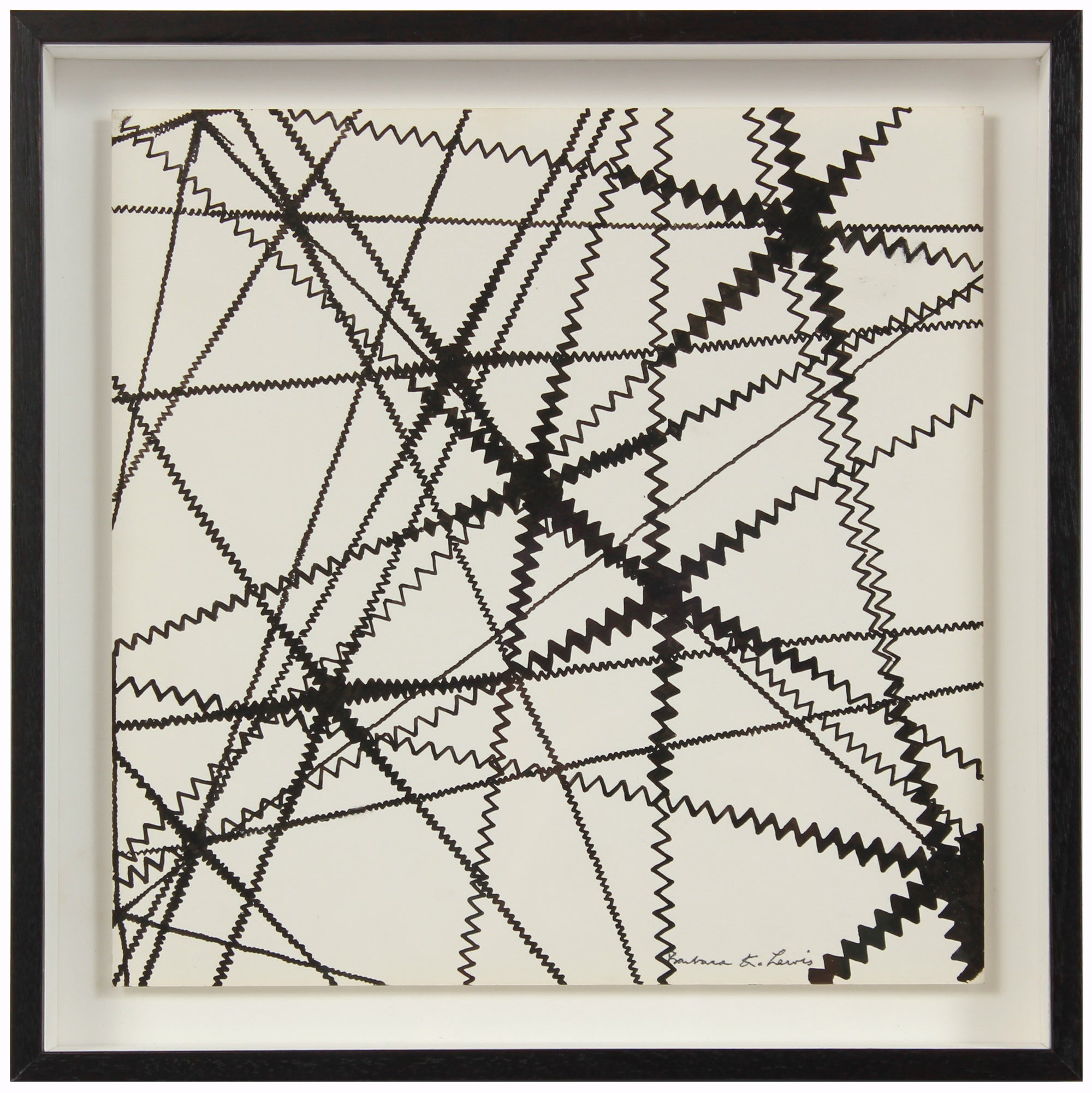 Black & White Linear Zig-Zag Abstract <br>1967 Ink <br><br>#A1498