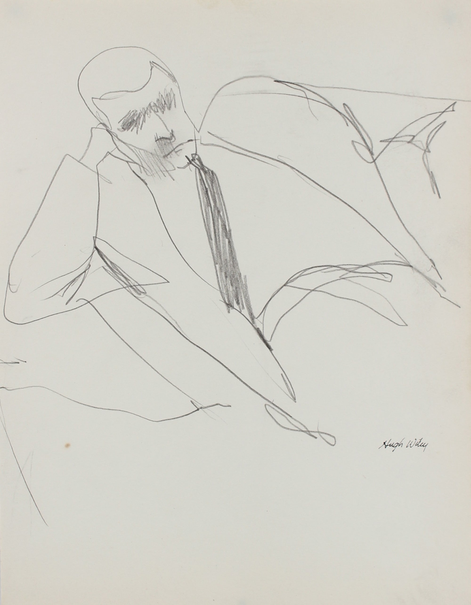 Reclined Figure in a Suit <br>1958 Graphite <br><br>#A1853