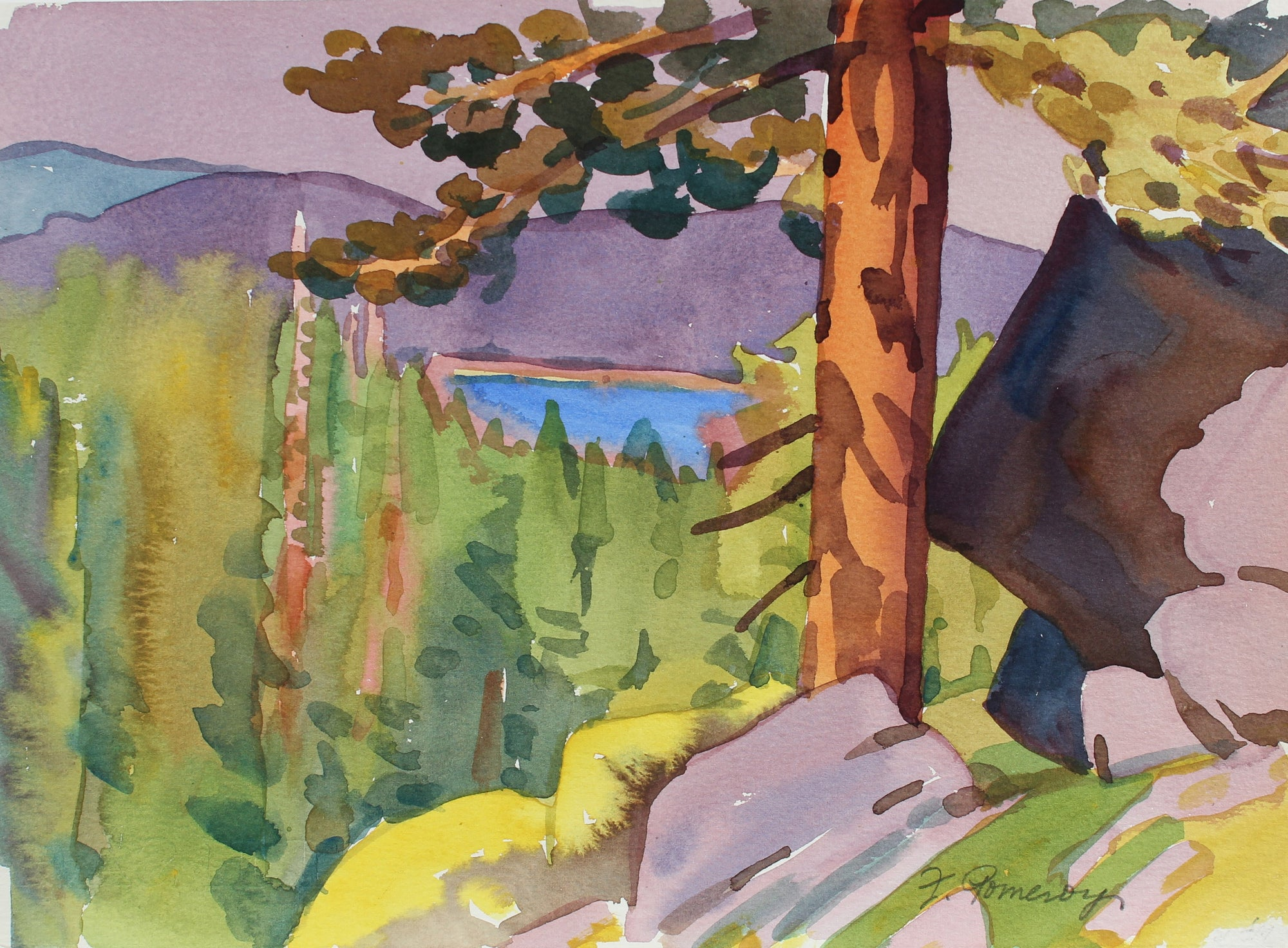 <i>Above Lake Alpine</i> <br>1991 Watercolor <br><br>#A2066