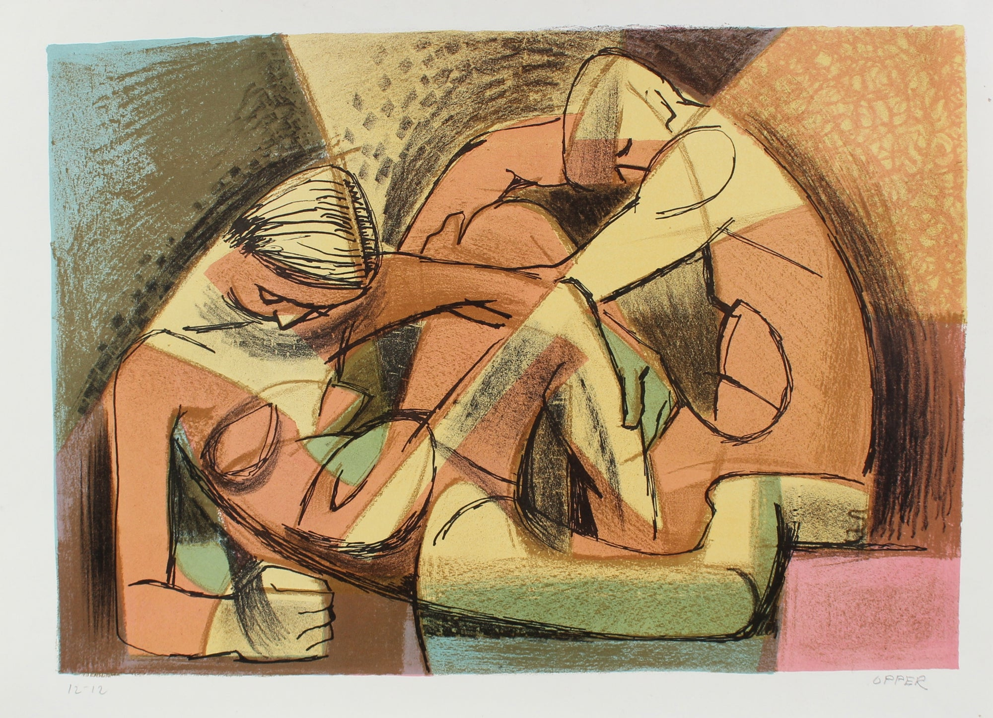 Warm Modernist Figures Edition Print<br>1940-50s Stone Lithograph<br><br>#A2187