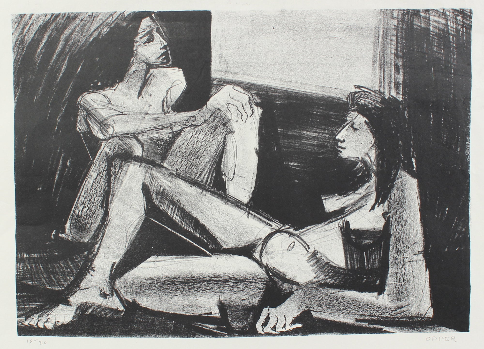 Two Nude Figures <br>1940-50s Stone Lithograph<br><br>#A2192