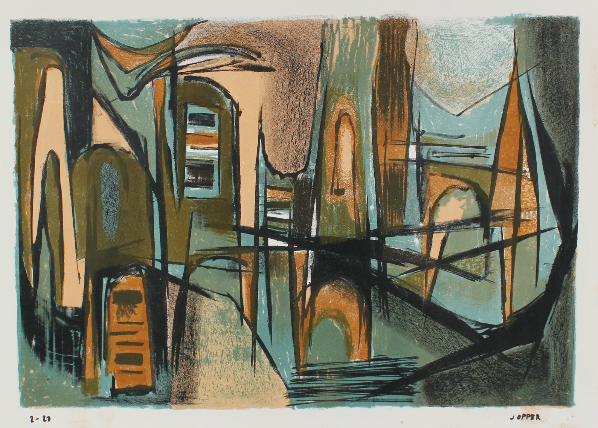Cool-Toned Modernist Abstract <br>1940-50s Lithograph <br><br>#A2196