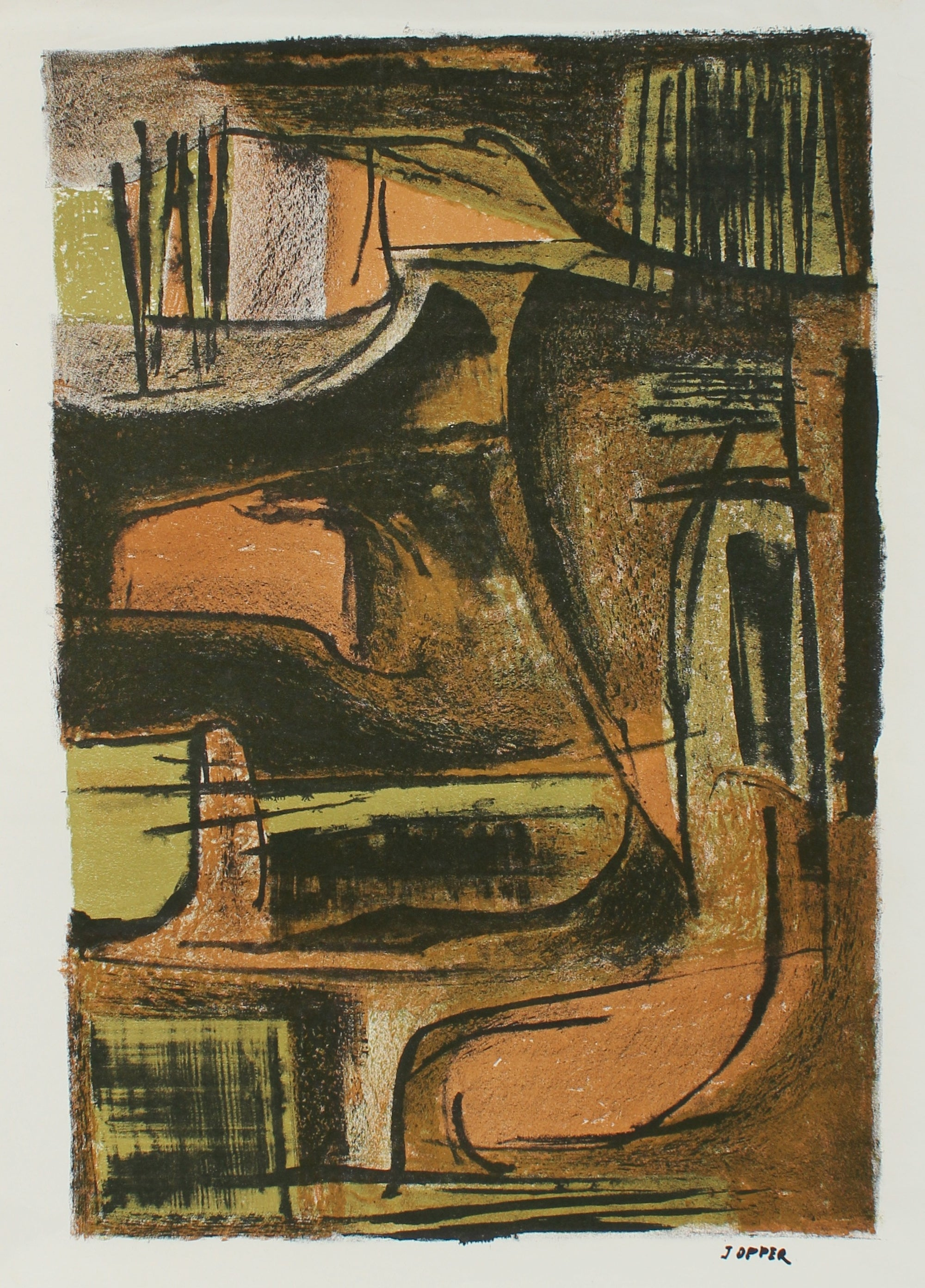 Warm Modernist Abstract <br>1940-50s Lithograph <br><br>#A2198