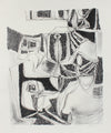 Modernist Black & White Abstract <br>1940-50s Lithograph <br><br>#A2200