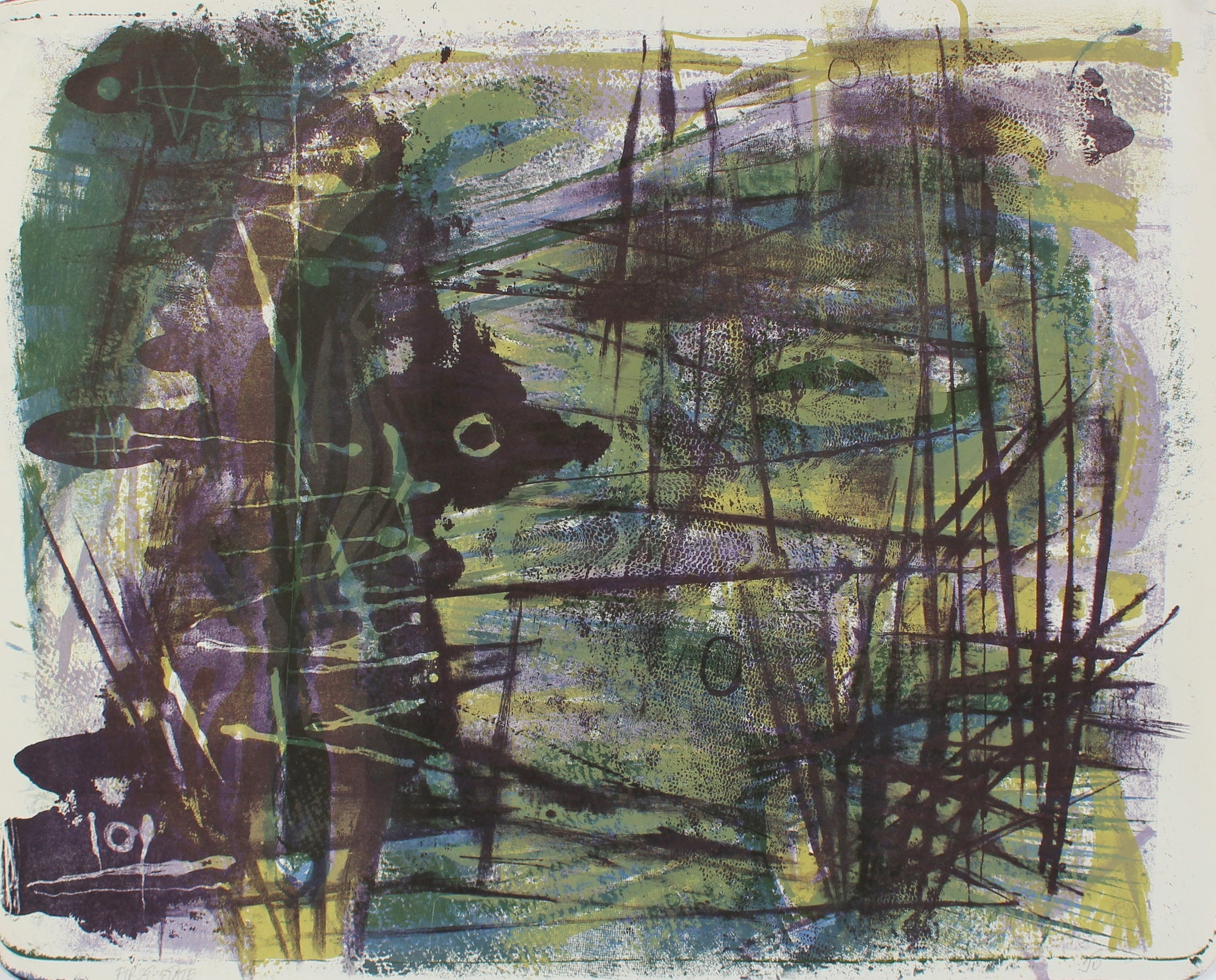 Green and Purple Modernist Abstract <br>1940-50s Lithograph <br><br>#A2202