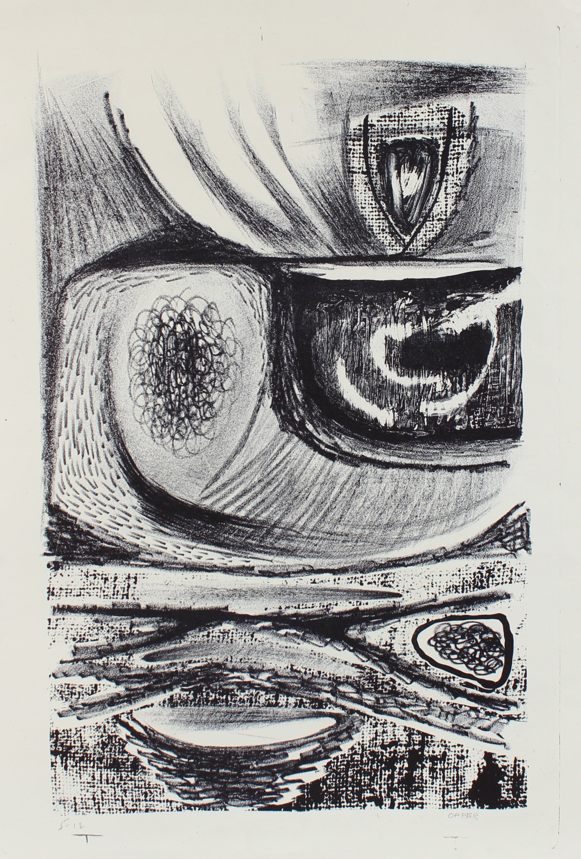 Amorphic Monochrome Abstract <br>1940-50s Lithograph <br><br>#A2203