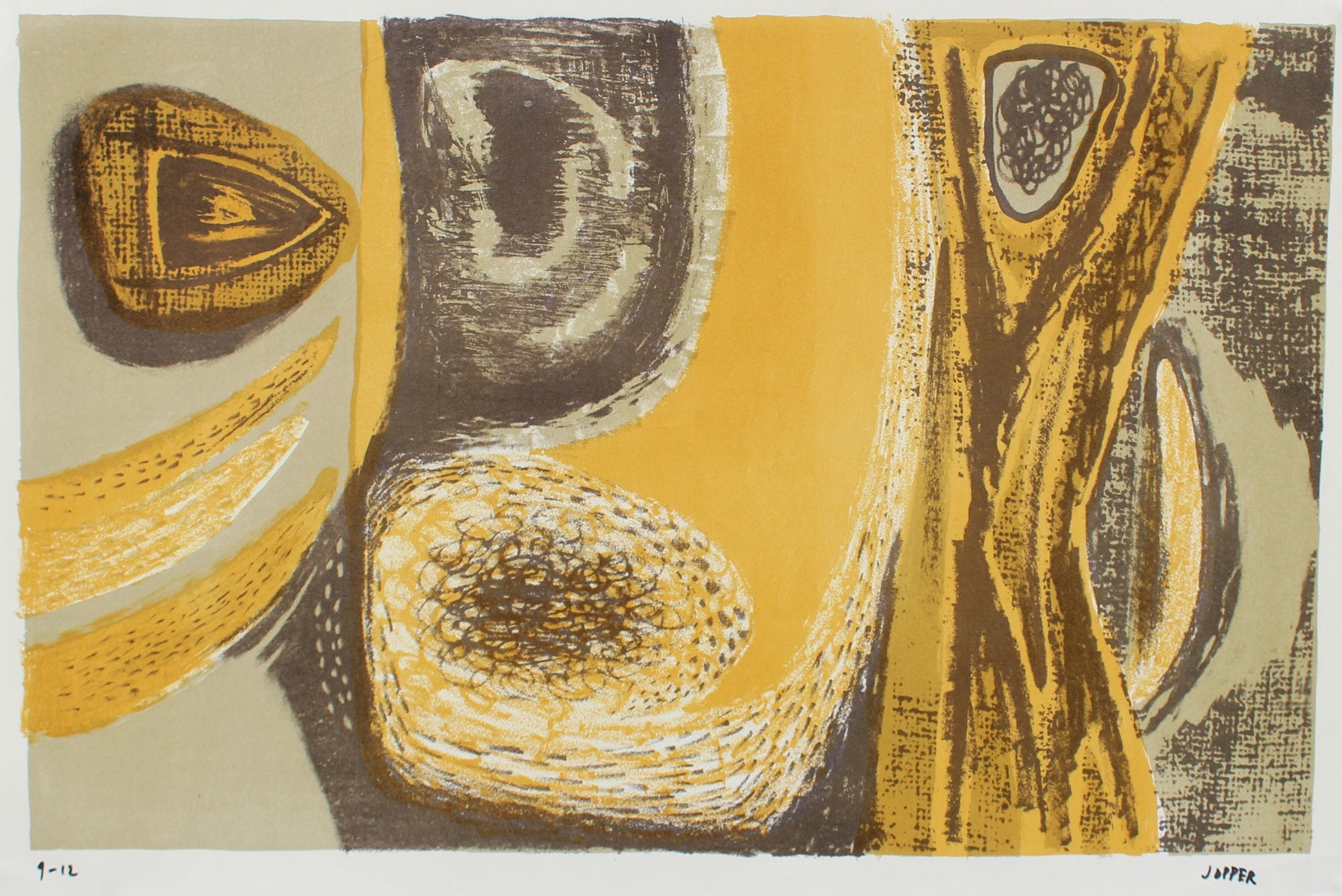 Golden Yellow Modernist Abstract <br>1940-50s Lithograph <br><br>#A2204