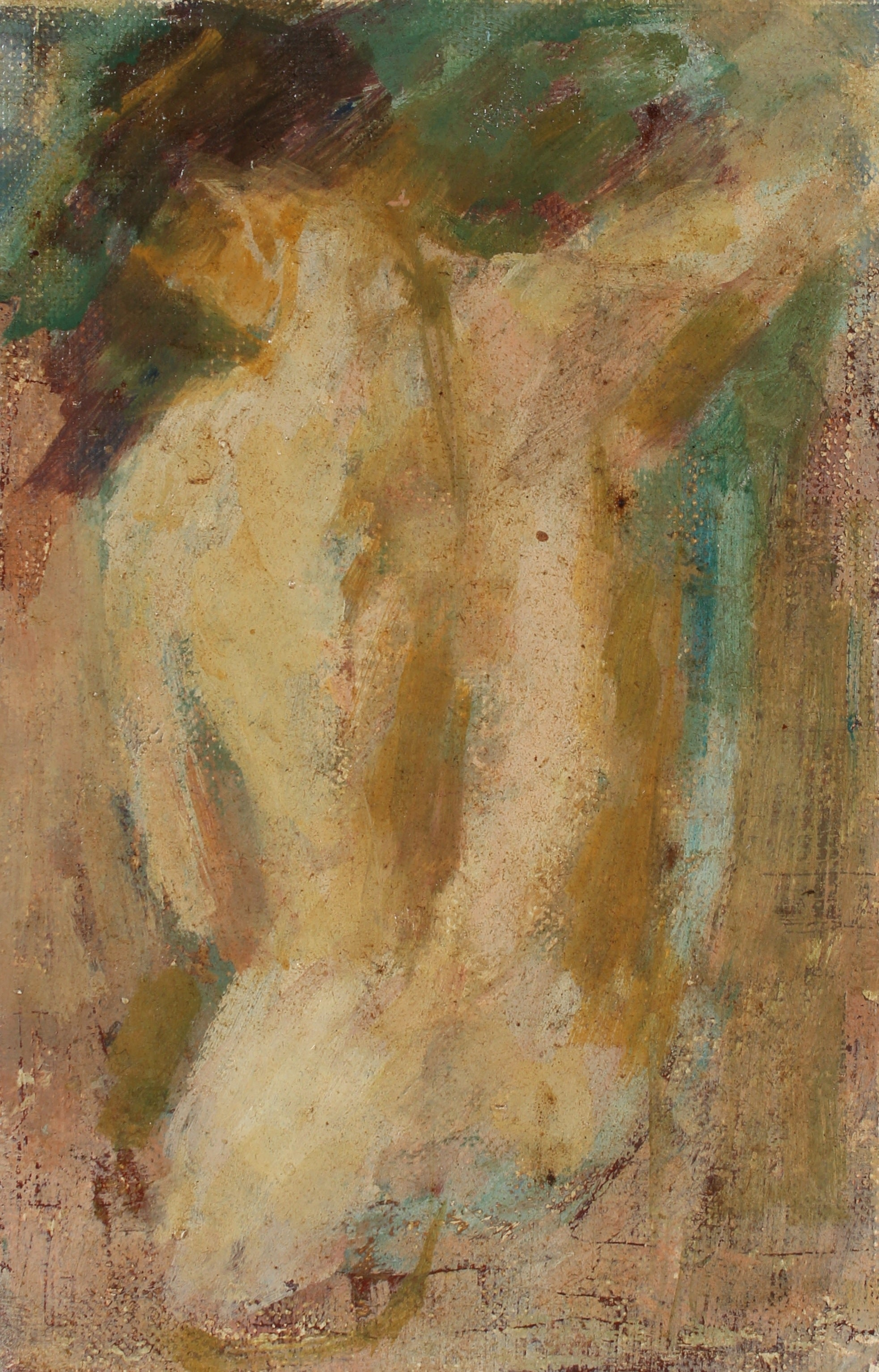 Impressionist Female Nude From Behind <br>1960s Oil <br><br>#A2212