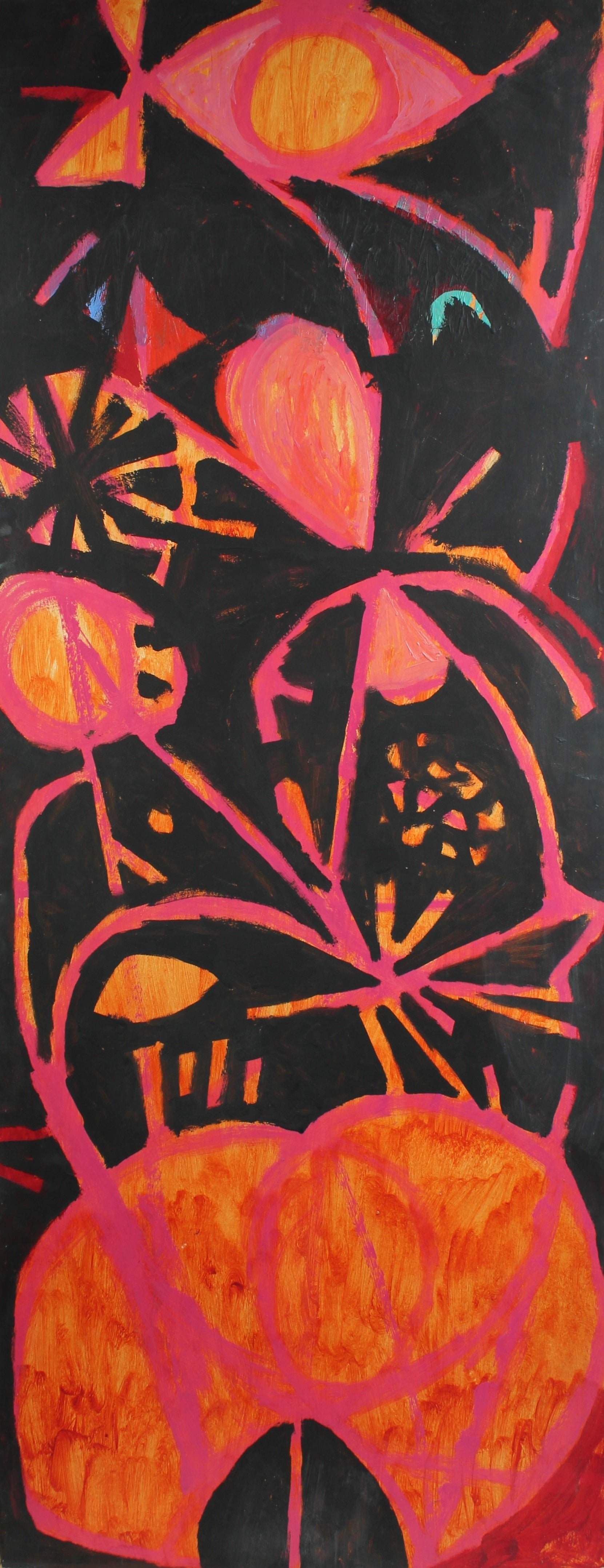 Modernist Abstract in Red & Orange<br>Late 1950s Oil<br><br>#A2259