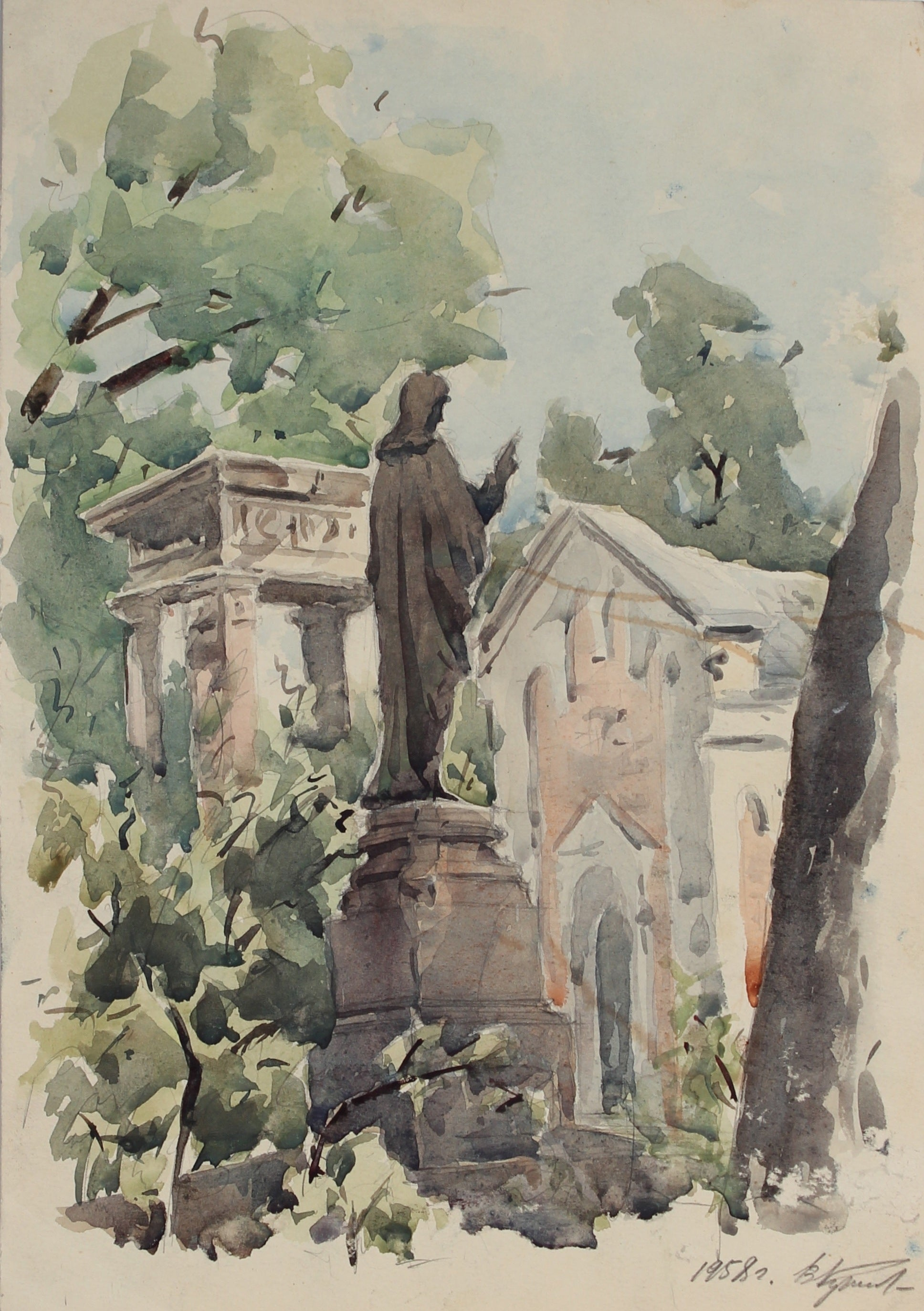 Statue in the Park<br>1958 Watercolor & Graphite<br>Krizh<br><br>#A3011