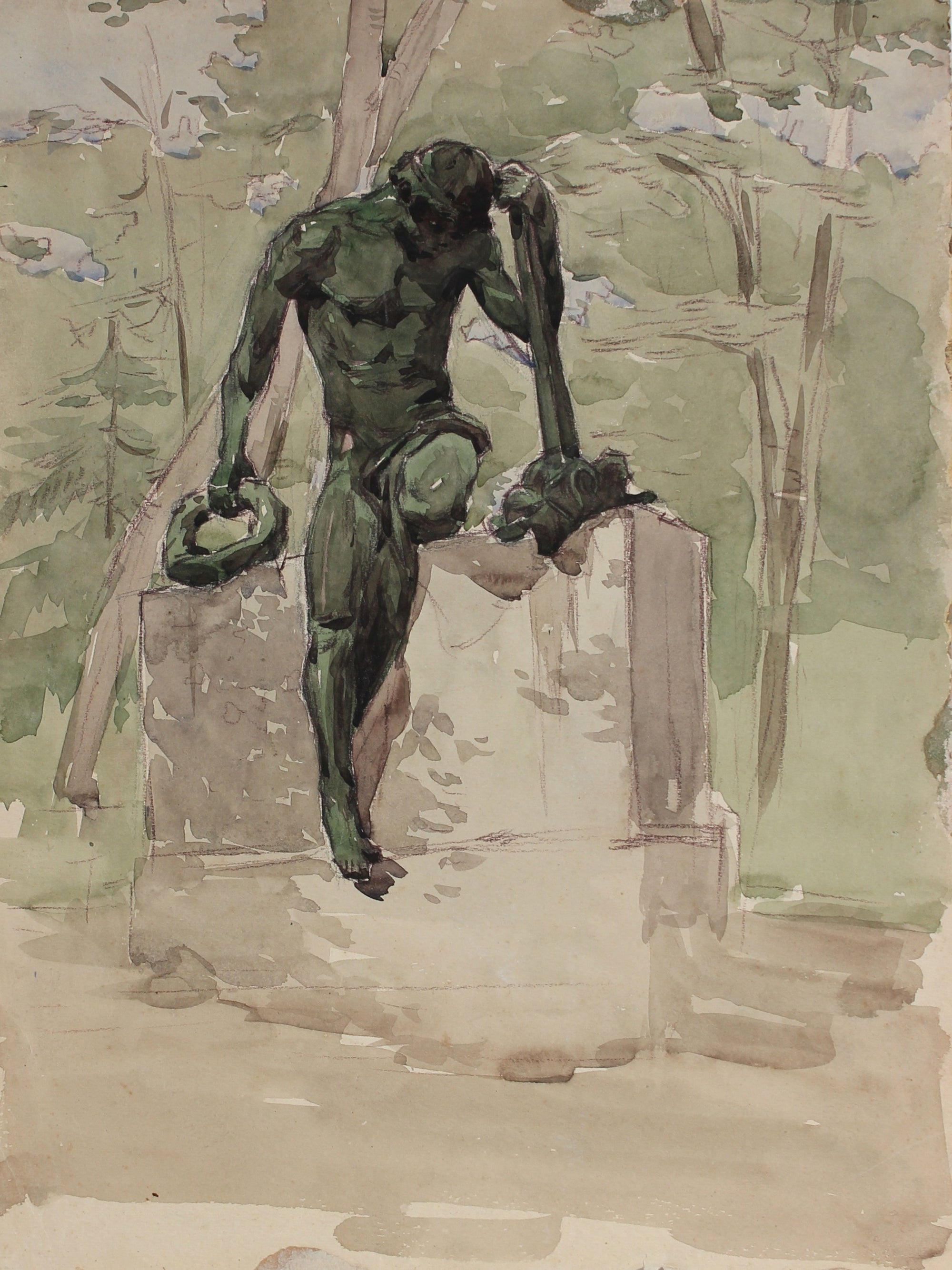 Contemplative Statue in the Park<br>1960s Watercolor & Pastel<br>Alexander Nazarenko<br><br>#A3012