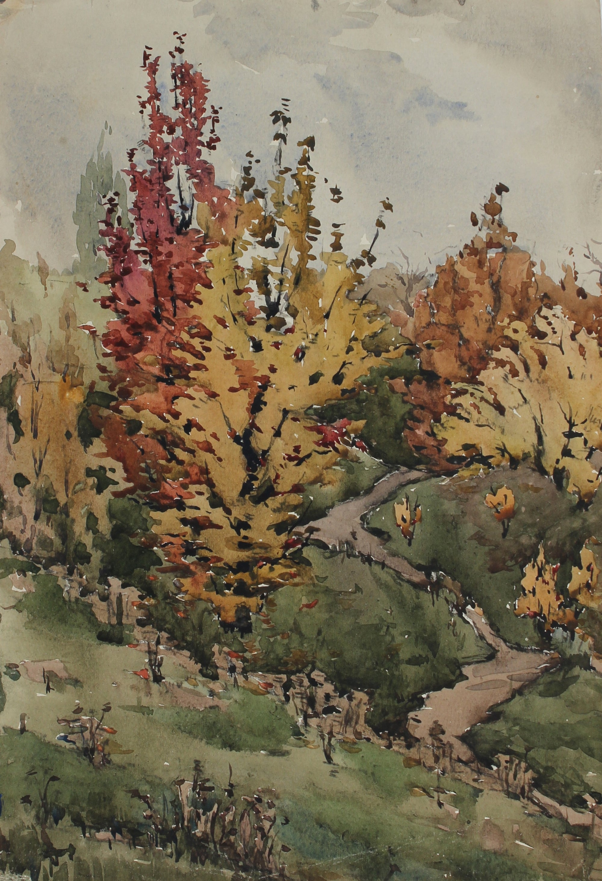 Autumn Trees<br>1970s Watercolor<br>Alexander Nazarenko<br><br>#A3014