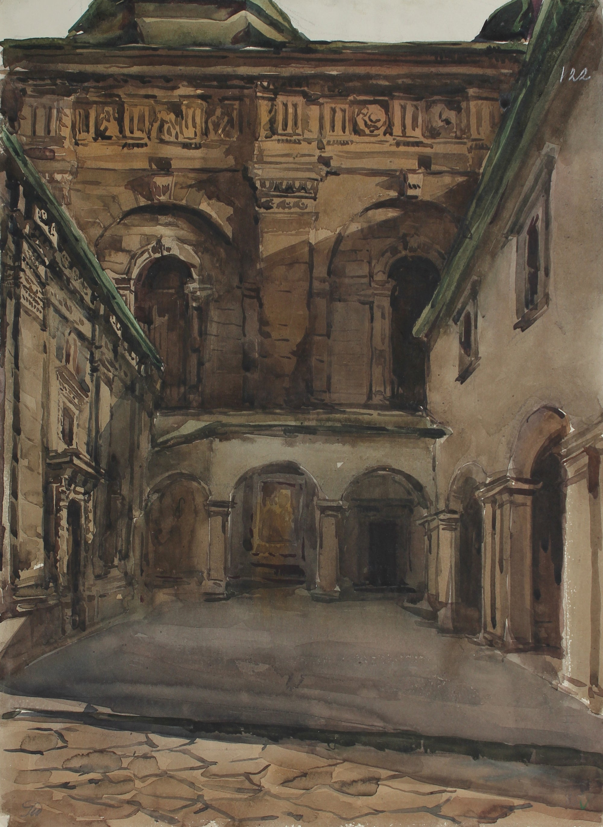 <i>Cathedral Study</i><br>1960-80s Watercolor<br>V. Burda<br><br>#A3015
