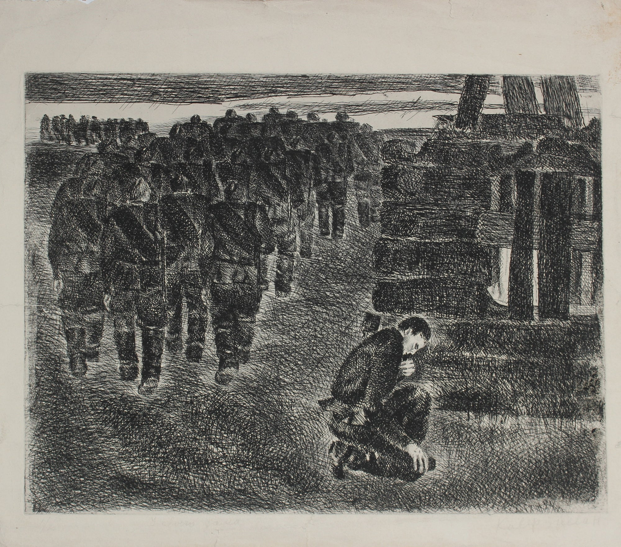 Soldiers at War<br>1960-80s Etching<br>Ivan Kaverin<br><br>#A3016