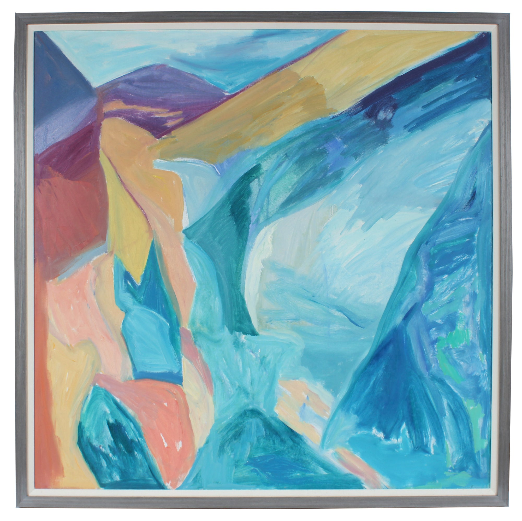 Bright Blue Abstraction <br>1980s Oil <br><br>#A3035