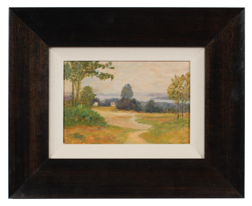 Bucolic Tree-Lined Lane<br>1920-30s Oil<br><br>#A3269