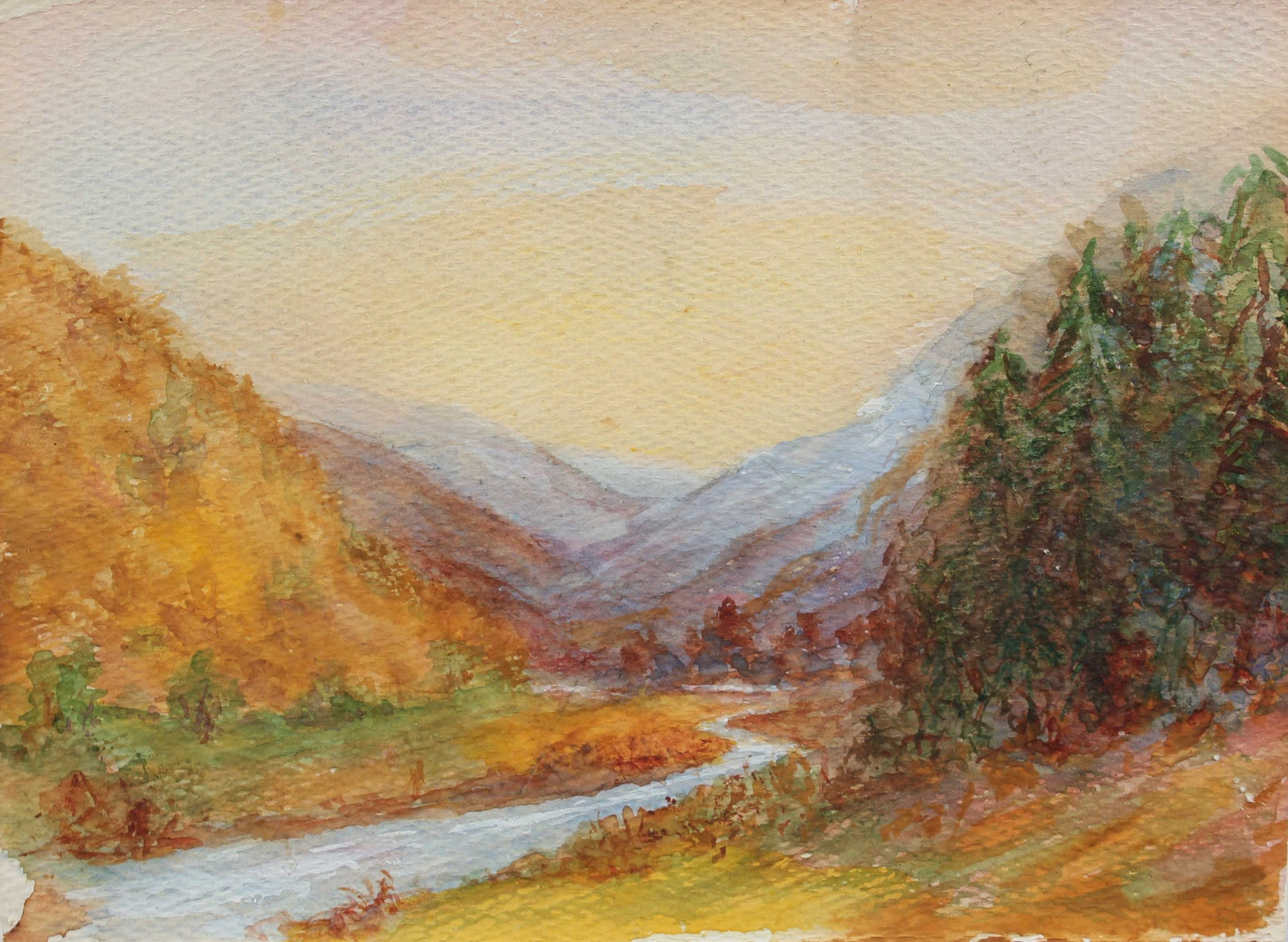 Serene Mountain Stream<br>1900-30s Oil<br><br>#A3276