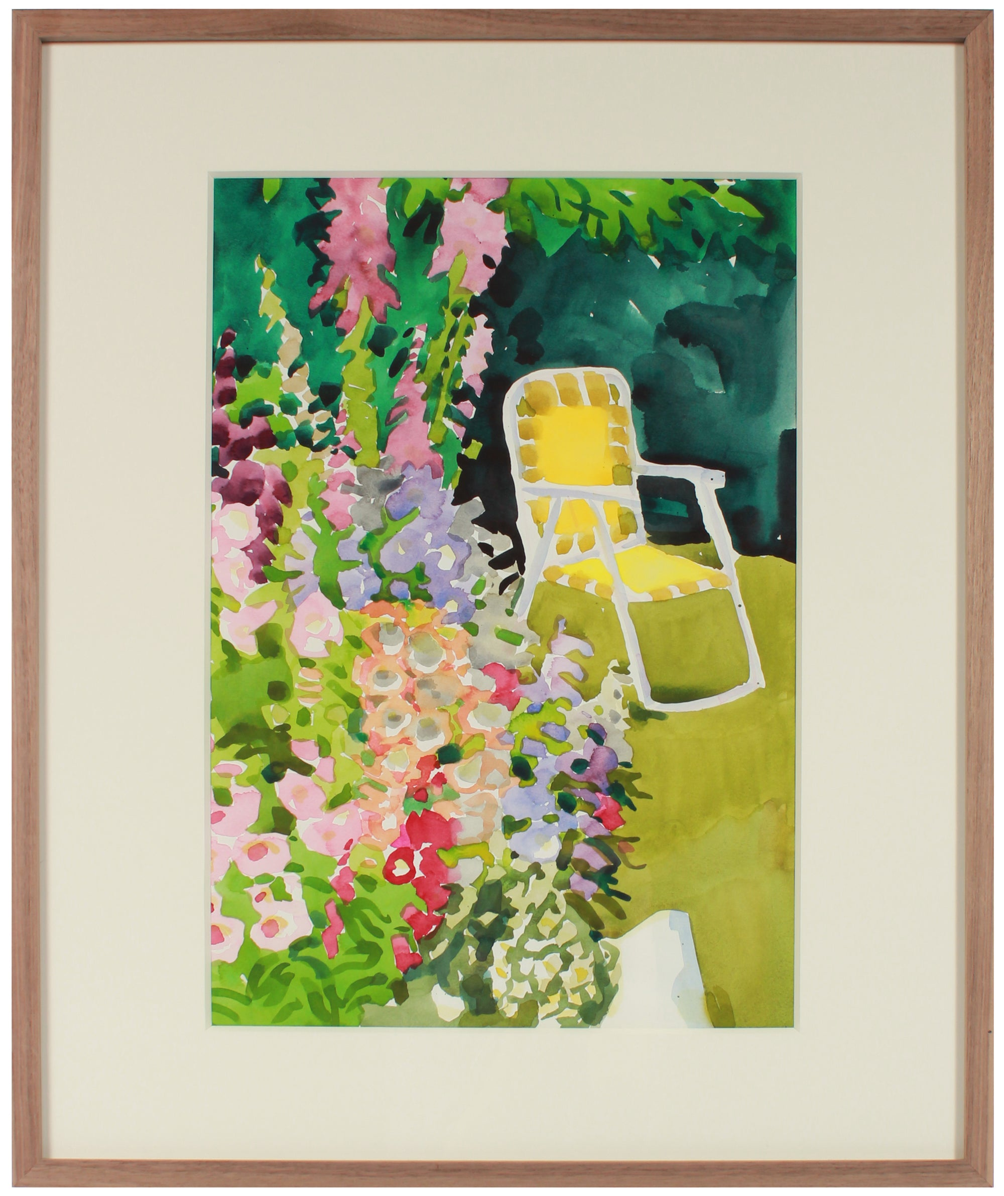 Sunny Backyard Garden <br>Mid-Late 20th Century Watercolor <br><br>#A3550