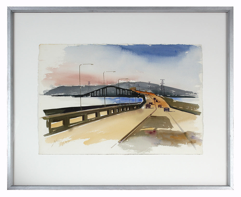 Bay Area Freeway & Bridge<br>Mid-Late 20th Century Watercolor<br><br>#A3856