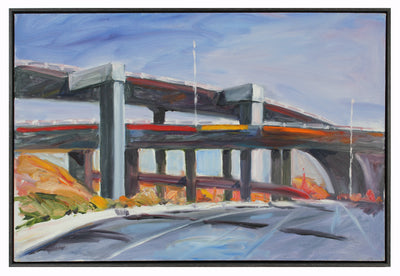 Bay Area Freeway Painting<br>Late 20th Century Oil<br><br>#A5619