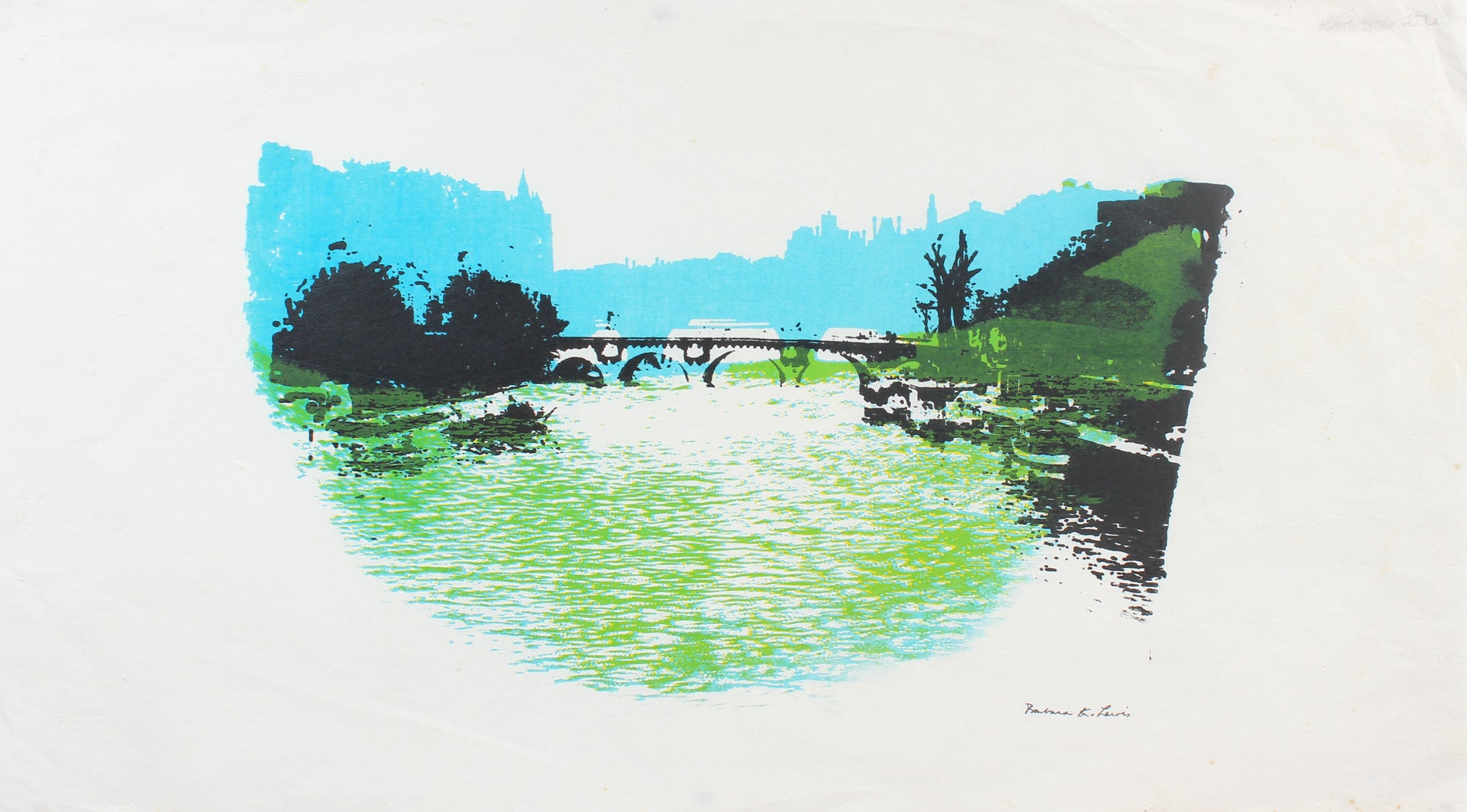 Cool River Scene<br>Late 20th Century Print<br><br>#A5961