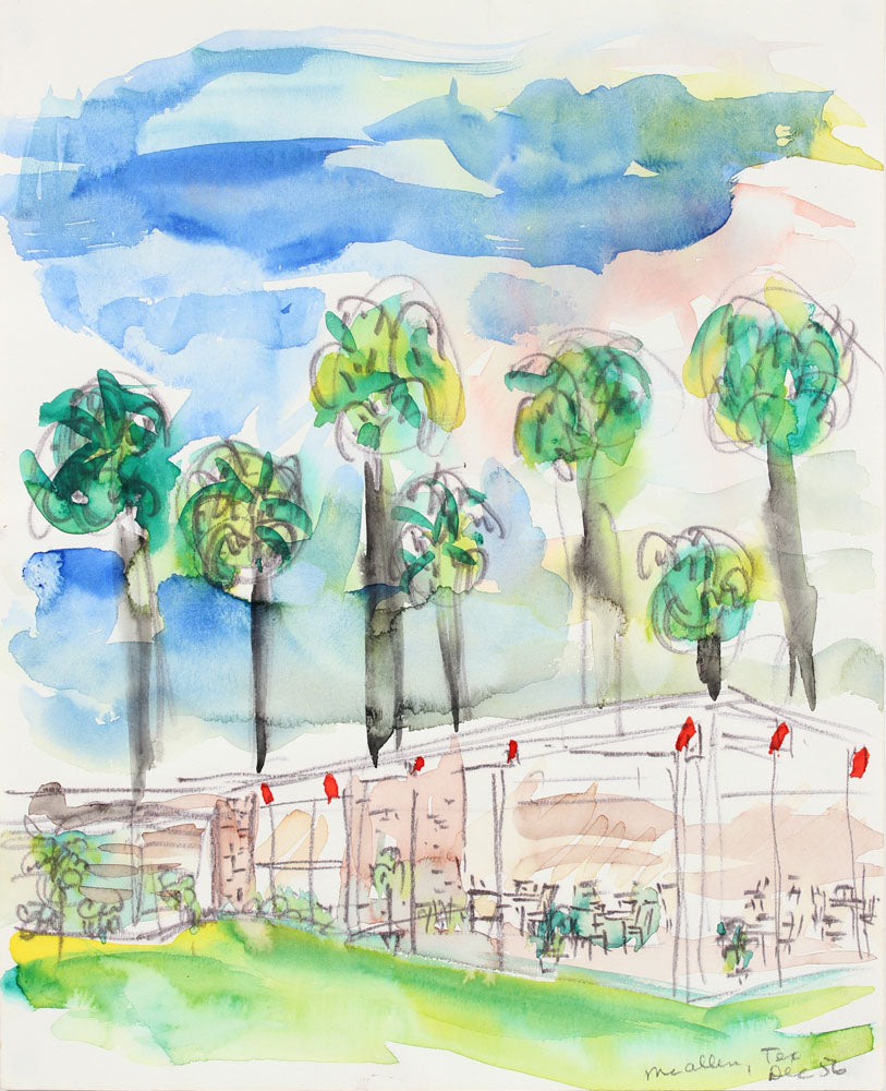 <i>McAllen, Texas</i><br>1956 Watercolor and Ink<br><br>#A5977