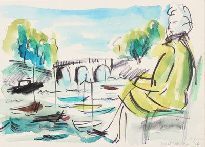 Leisure at the Water's Edge<br>1956 Watercolor and Ink<br><br>#A5979
