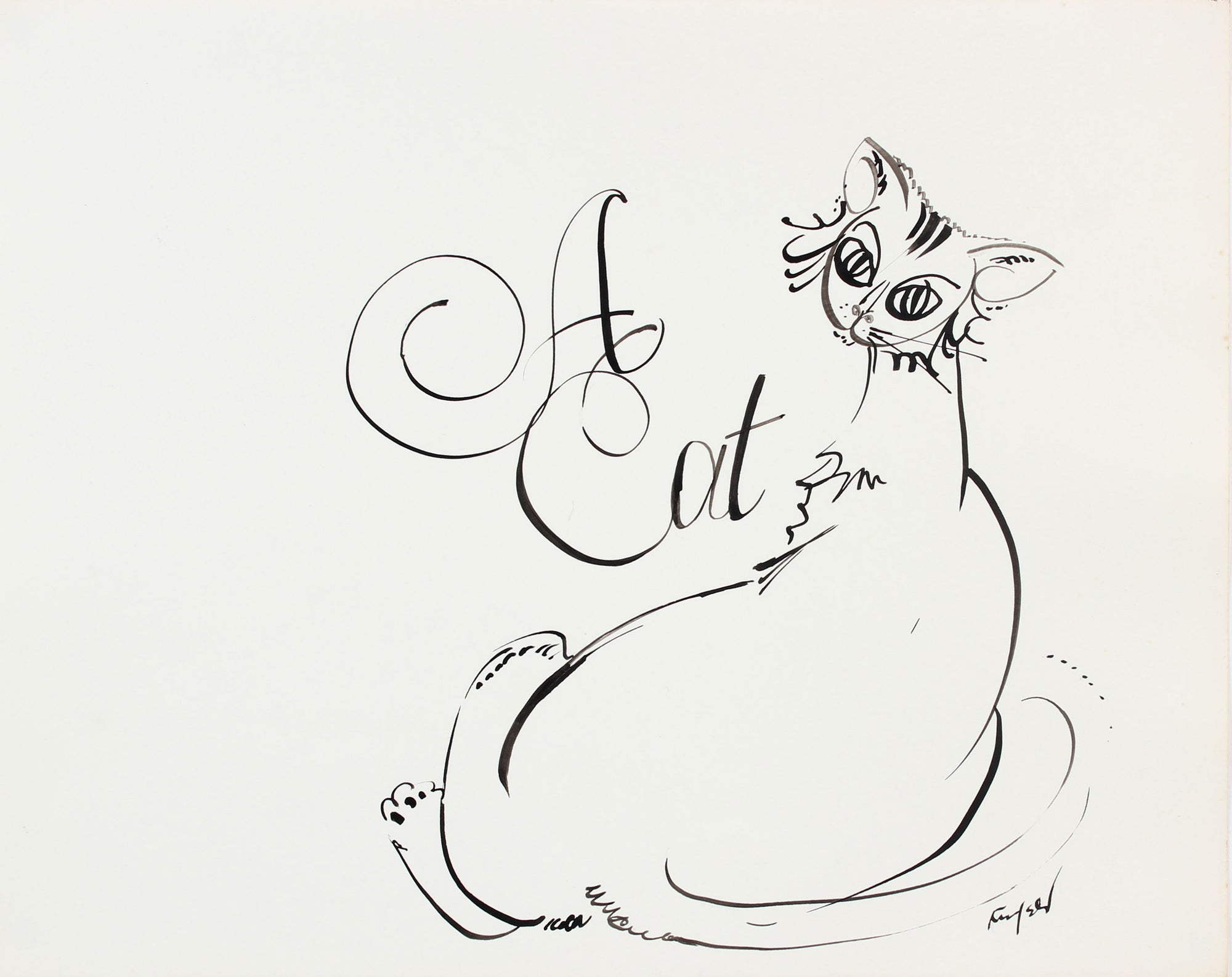 <i>A Cat</i>, Modernist Drawing<br>1970-80s Ink<br><br>#A5990