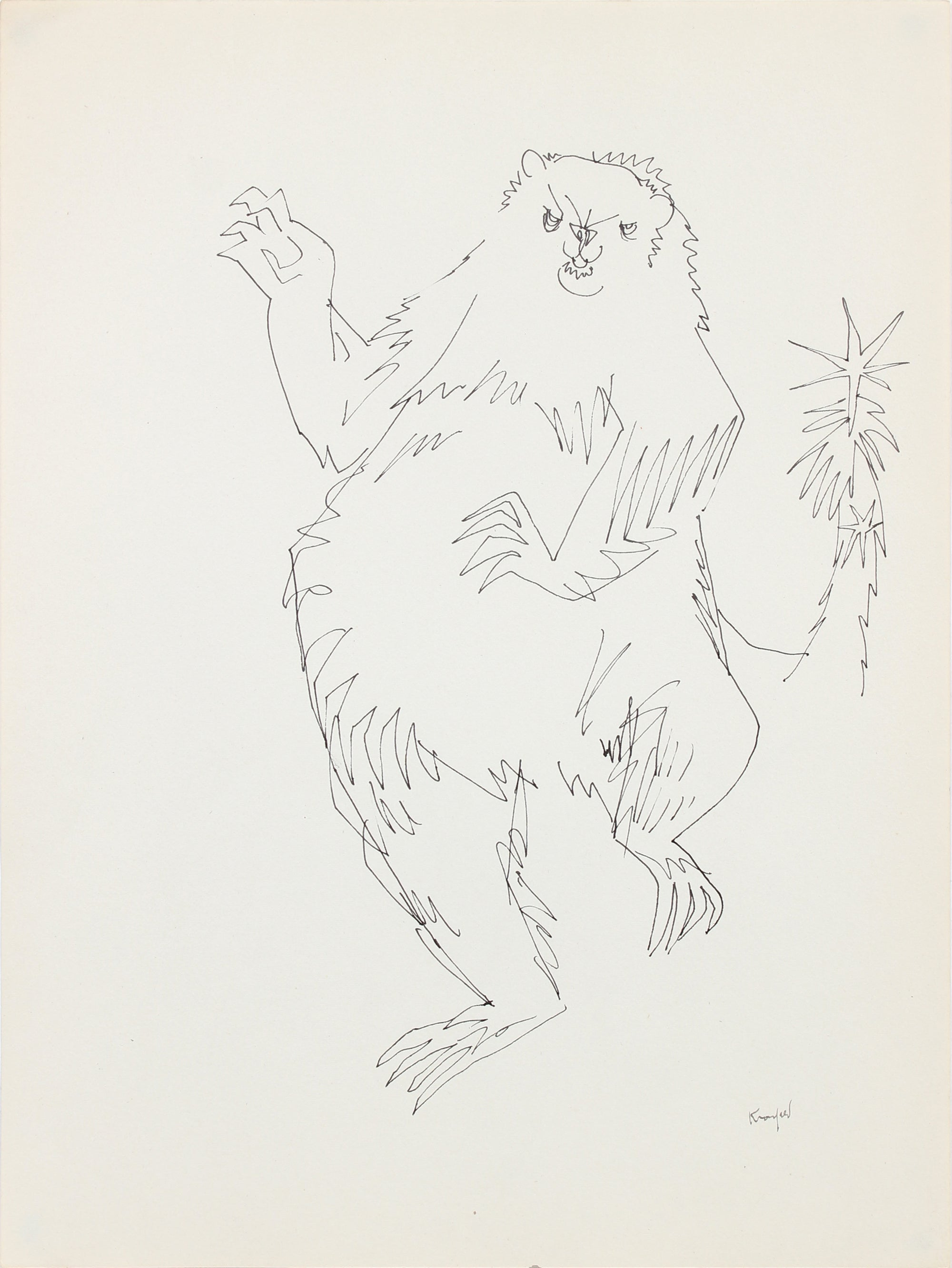 Dancing Sloth <br>1970-80s Ink <br><br>#A5998