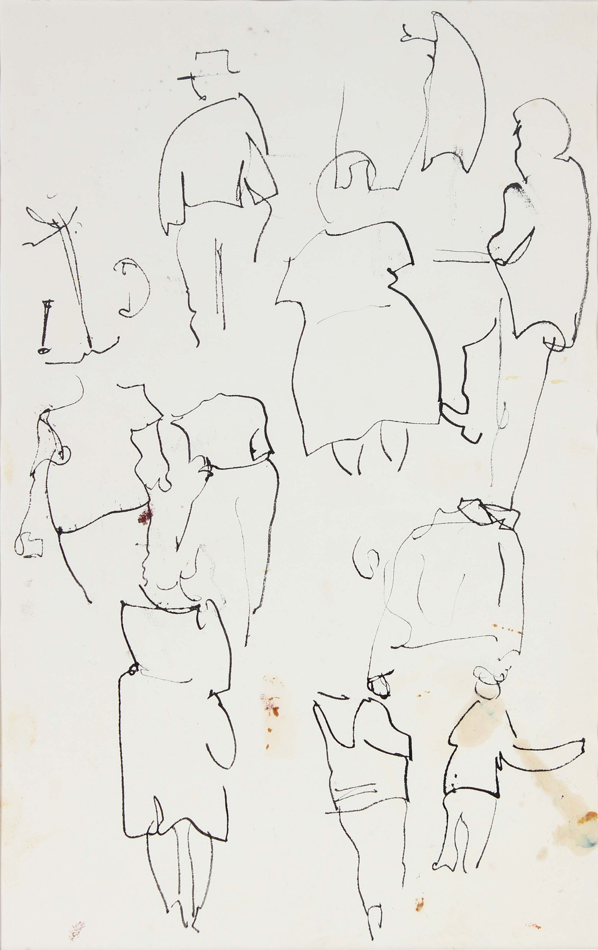 <i>Abstracted Ink Figures</i><br>1950s Ink Drawing<br><br>#A6024