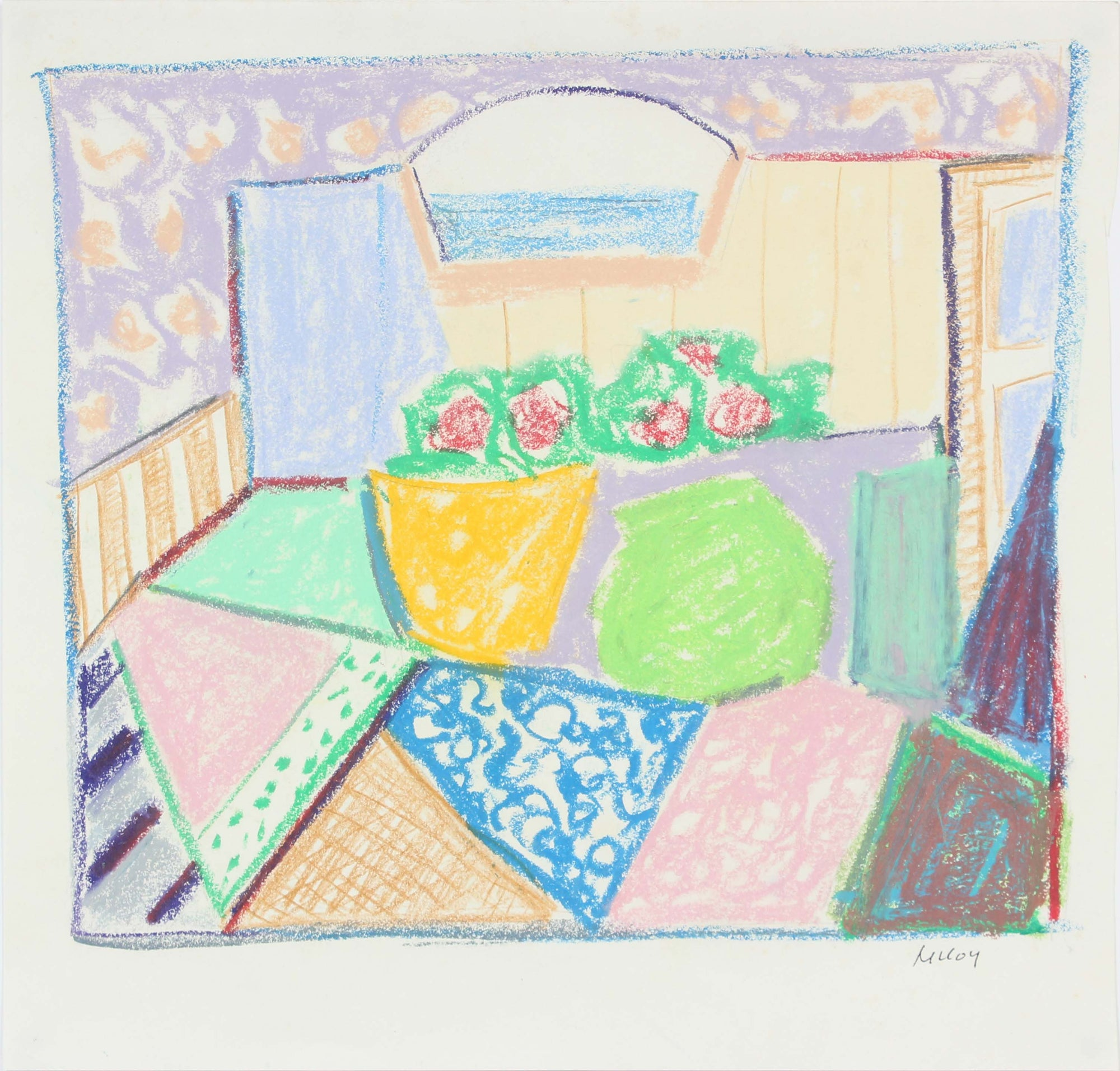 Abstracted Still Life<br>Mid - Late 20th Century Pastel<br><br>#A6177
